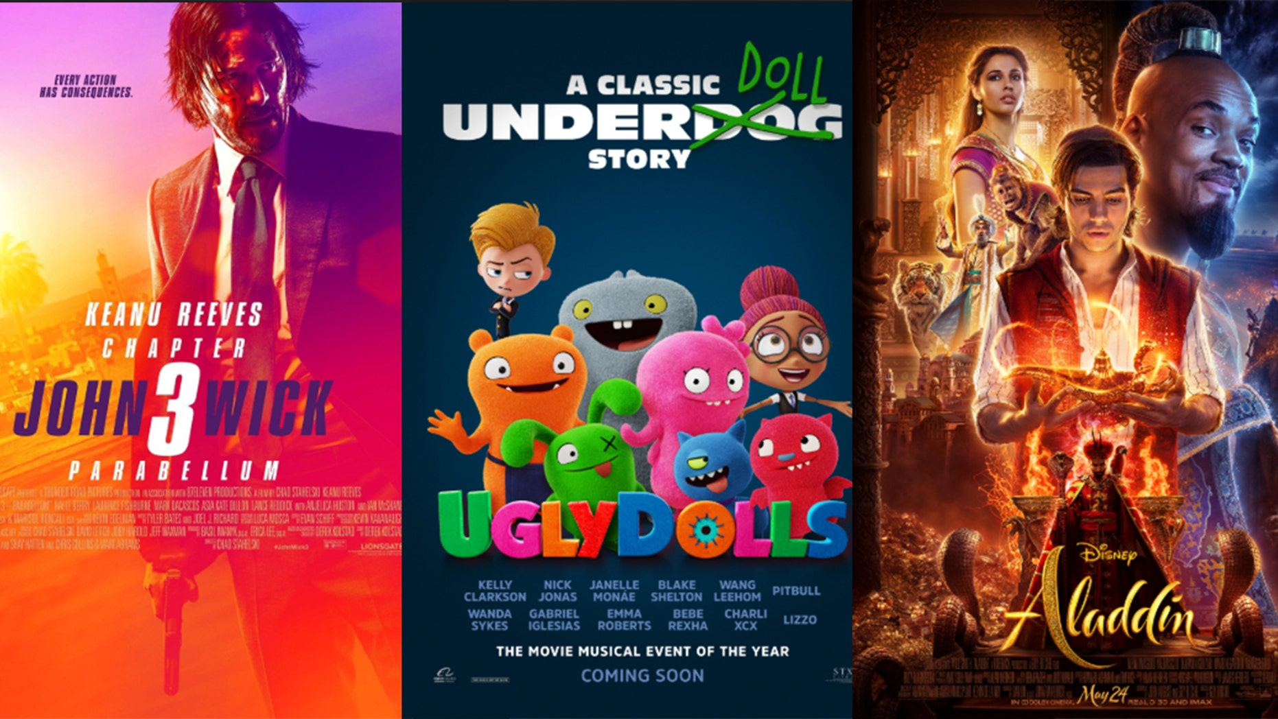 """From l-r: """"John Wick: Chapter 3 – Parabellum,"""" """"Uglydolls,"""" and """"Aladdin"""" come to theaters in May."""