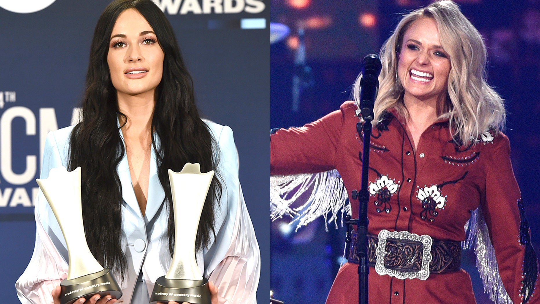 Kacey Musgraves, left, won female vocalist of the year at the 2019 ACM Awards, putting an end to Miranda Lambert's, right, 9-year winning streak.