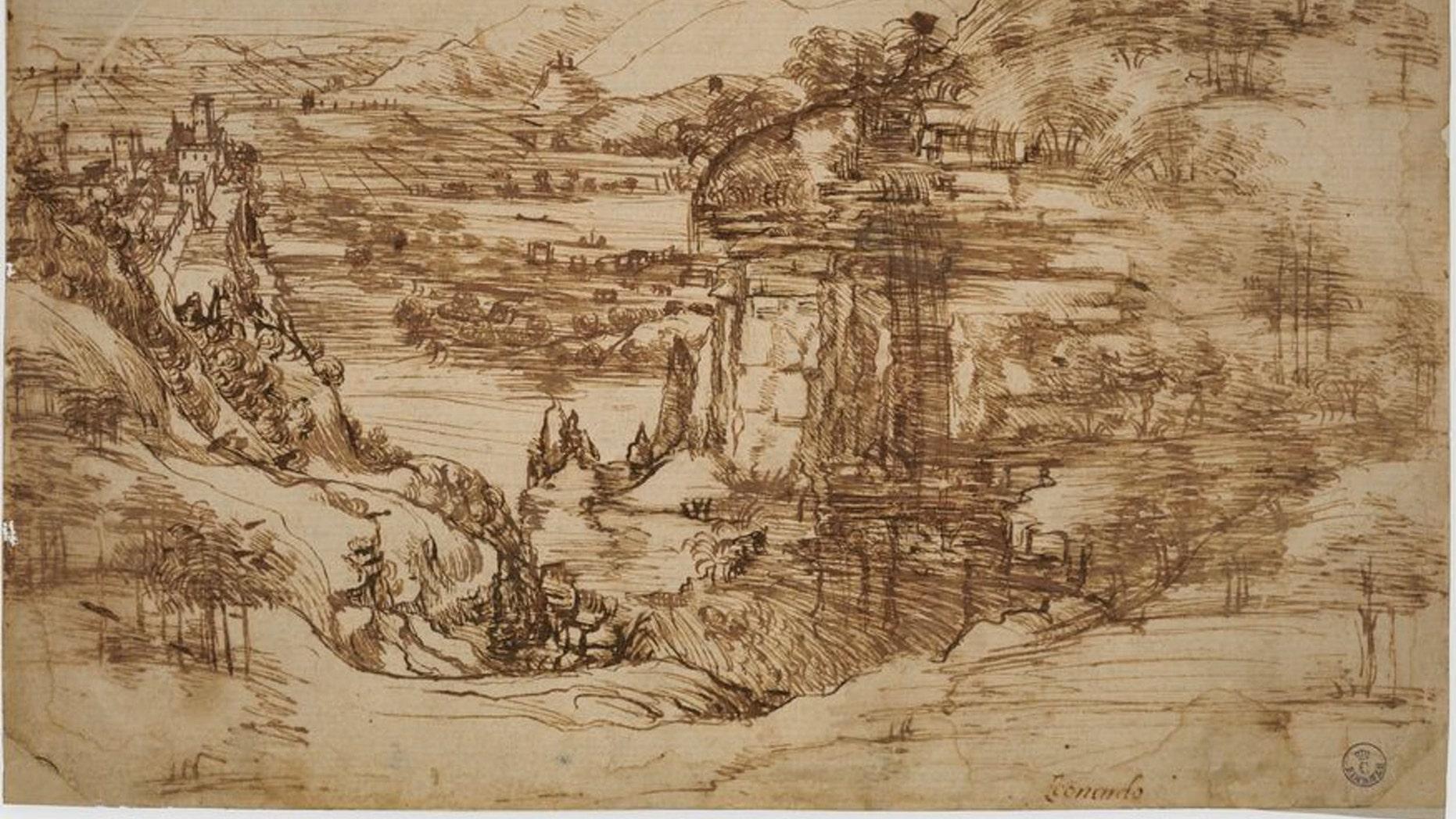 """Leonardo da Vinci drew """"Landscape 8P"""" in 1473, at age 21. (Credit: Opera Laboratori Fiorentini)"""