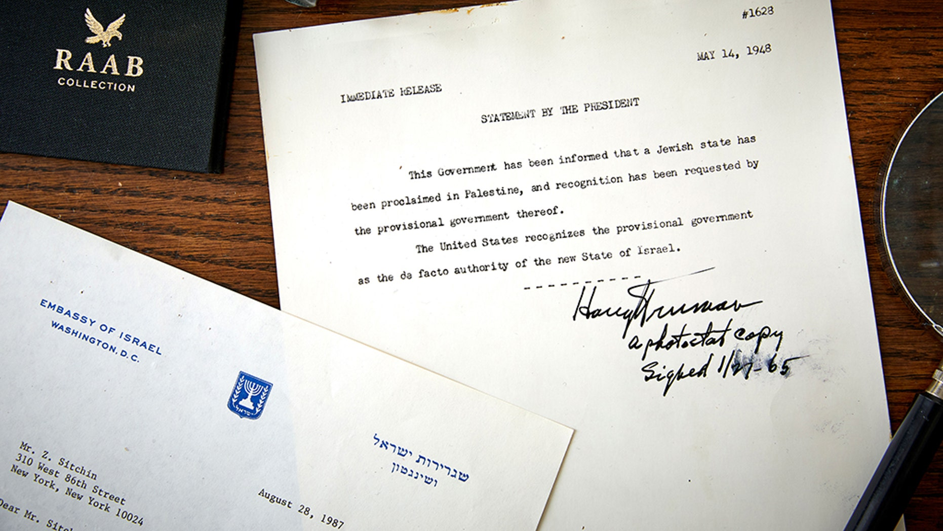 U.S. President Harry S. Truman was the first world leader to recognize the state of Israel in 1948, but he didn't sign the official statement until years later. It is now for sale.