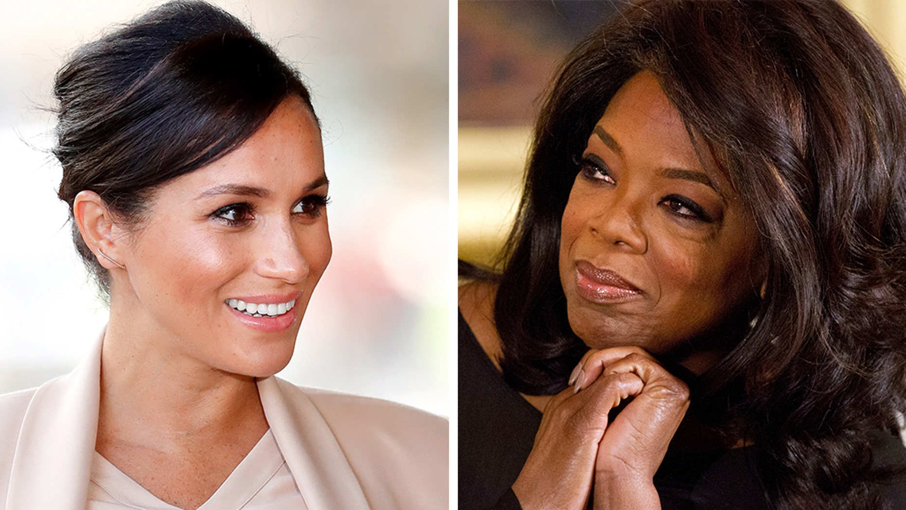 "Oprah Winfrey, right, is defending Duchess of Sussex Meghan Markle and says the mom-to-be is ""being portrayed unfairly."""