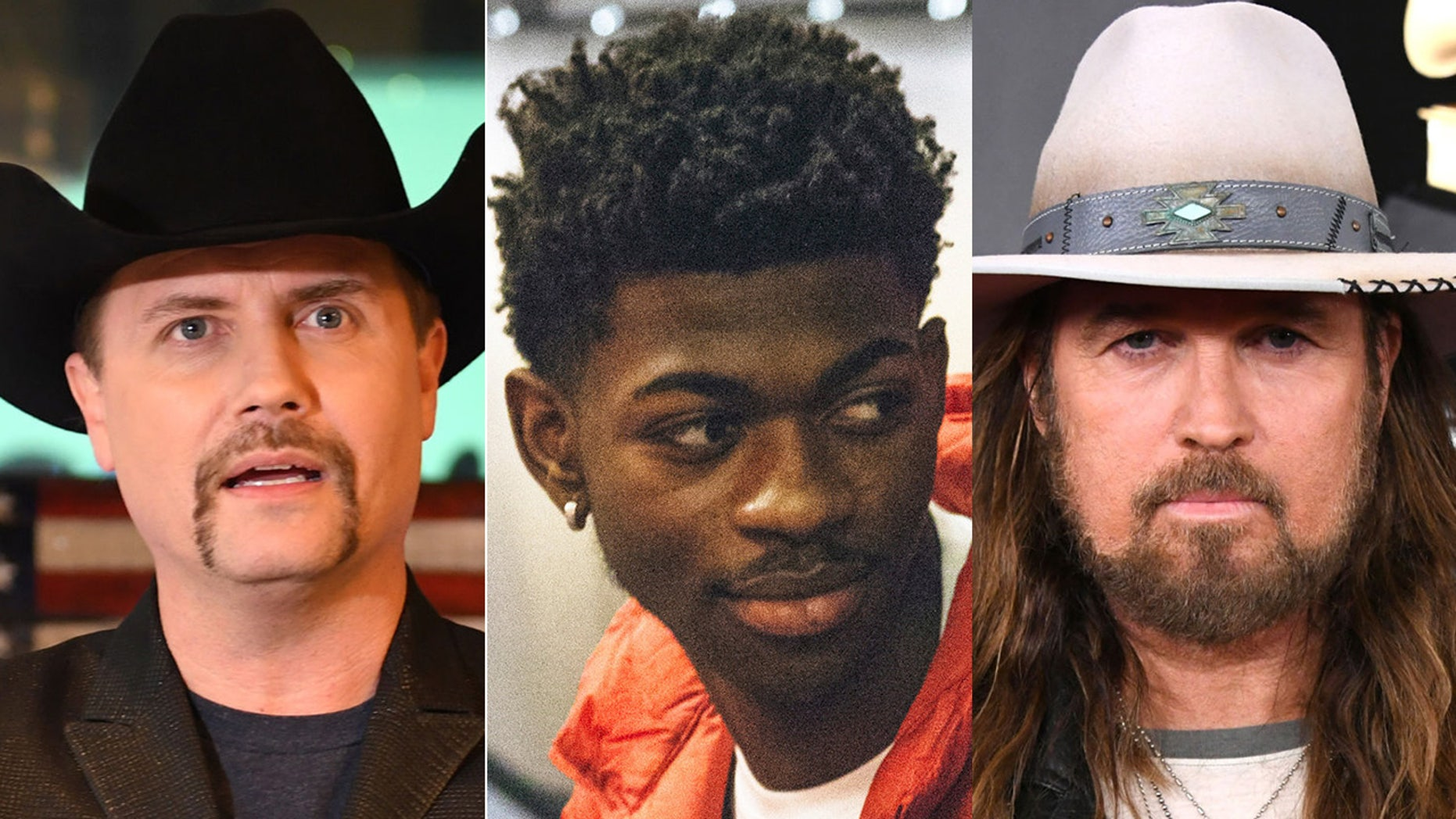 Rapper Lil Nas X, center, enlisted country music crooner Billy Ray Cyrus, right, for a remix of