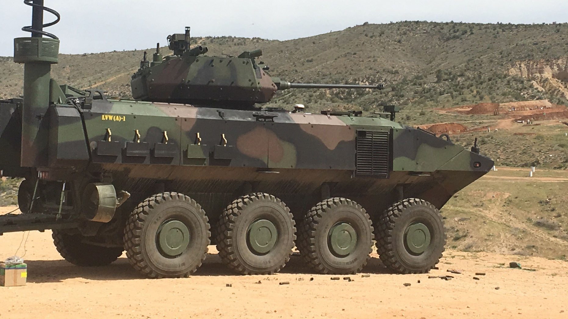 A Marine Corps amphibious combat vehicle armed with a 40mm cannon is seen in Kingman, Arizona.