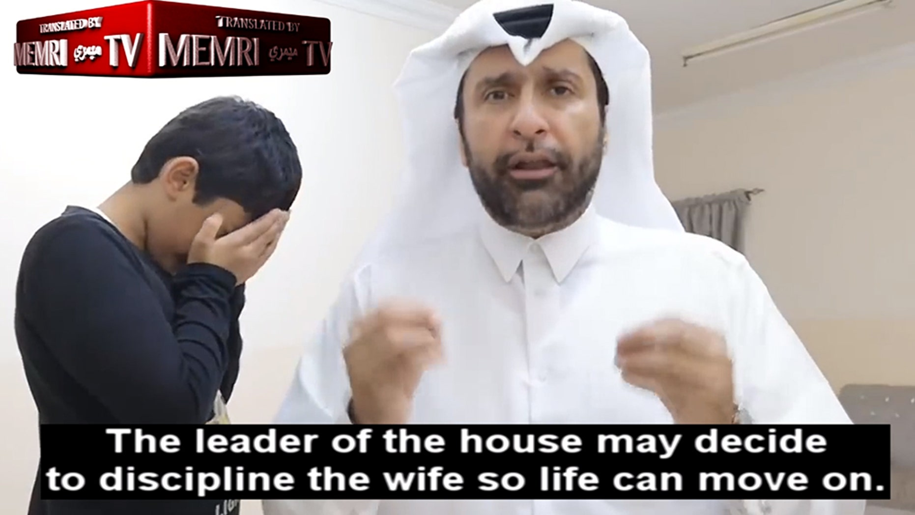 A video has emerged showing a Qatari academic demonstrating how Muslim men should beat their wives.