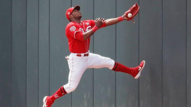 Yasiel Puig says he licks his baseball bat during games for good luck.(Associated Press)