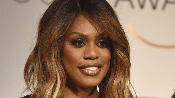 FILE - In this Dec. 12, 2018 file photo, Laverne Cox poses at the nominations announcement for the 25th annual Screen Actors Guild Awards in West Hollywood, Calif. Cox is scheduled to speak at a conference on gender equality, Tuesday, April 2, 2019, at Harvard University in Cambridge, Mass. (Photo by Chris Pizzello/Invision/AP, File)
