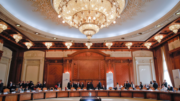European Union Finance ministers prepare for a session at the informal meeting of European Union Economic Financial Affairs in Bucharest, Romania, Friday, April 5, 2019. (AP Photo/Vadim Ghirda)