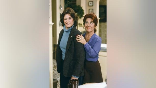 """""""Cousin Geri Returns"""" Episode 10 -- Geri Jewell as Geri Tyler, Charlotte Rae as Mrs. Edna Ann Garrett."""