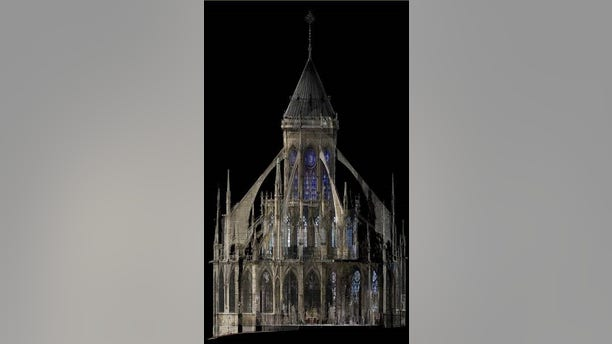 A 3D rendering of Notre Dame Cathedral. (Andrew Tallon/Vassar College)