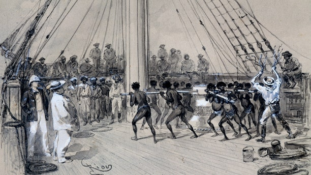 African slaves working the winch on a ship, watercolour by Edouard Riou (1833-1900). Paris, Musée National Des Arts Africains Et Oceaniens (Art Museum)