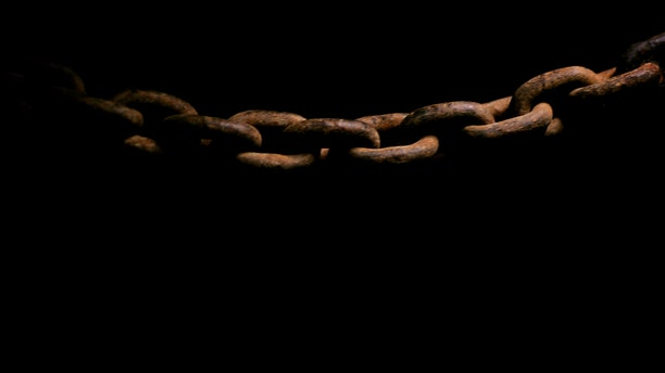 A detail view of a length of chain in the museum aboard the Tall ship Kaskelot, a replica of the 18th century wooden square rigger ship 'The Zong', on the River Thames by Tower Bridge on March 29, 2007 in London, England.