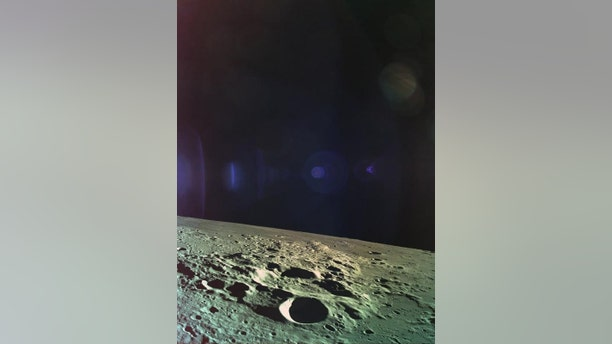 Beresheet captured this picture of the Moon just moments before the spacecraft crashed into the lunar surface.