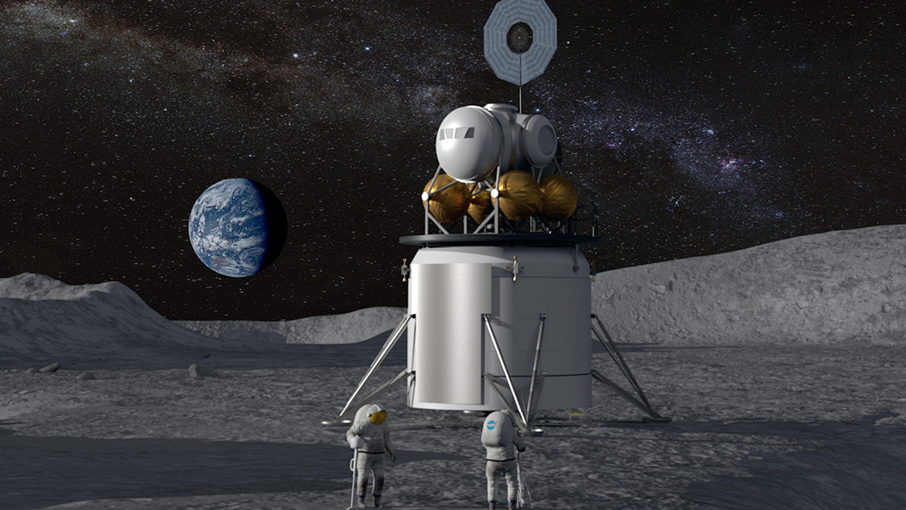 Artist's concept of a future moon landing carried out under NASA's newly named Artemis program. The space agency is working to return men and send the first women to the lunar surface by 2024, as has been directed by the White House.