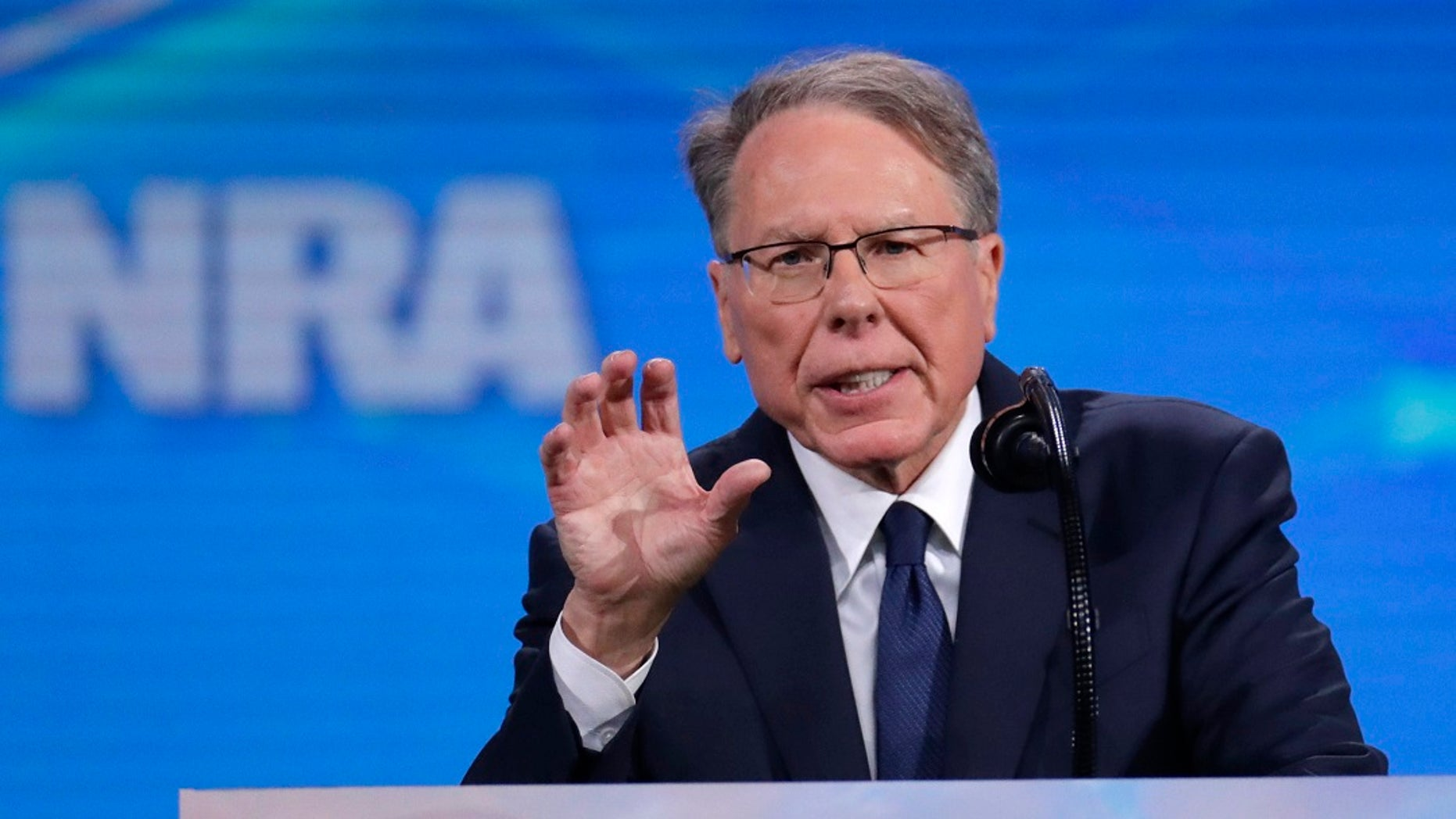 Nation Rifle Association Executive Vice President Wayne LaPierre speaks at the National Rifle Association Institute for Legislative Action Leadership Forum in Lucas Oil Stadium in Indianapolis. (AP Photo/Michael Conroy)