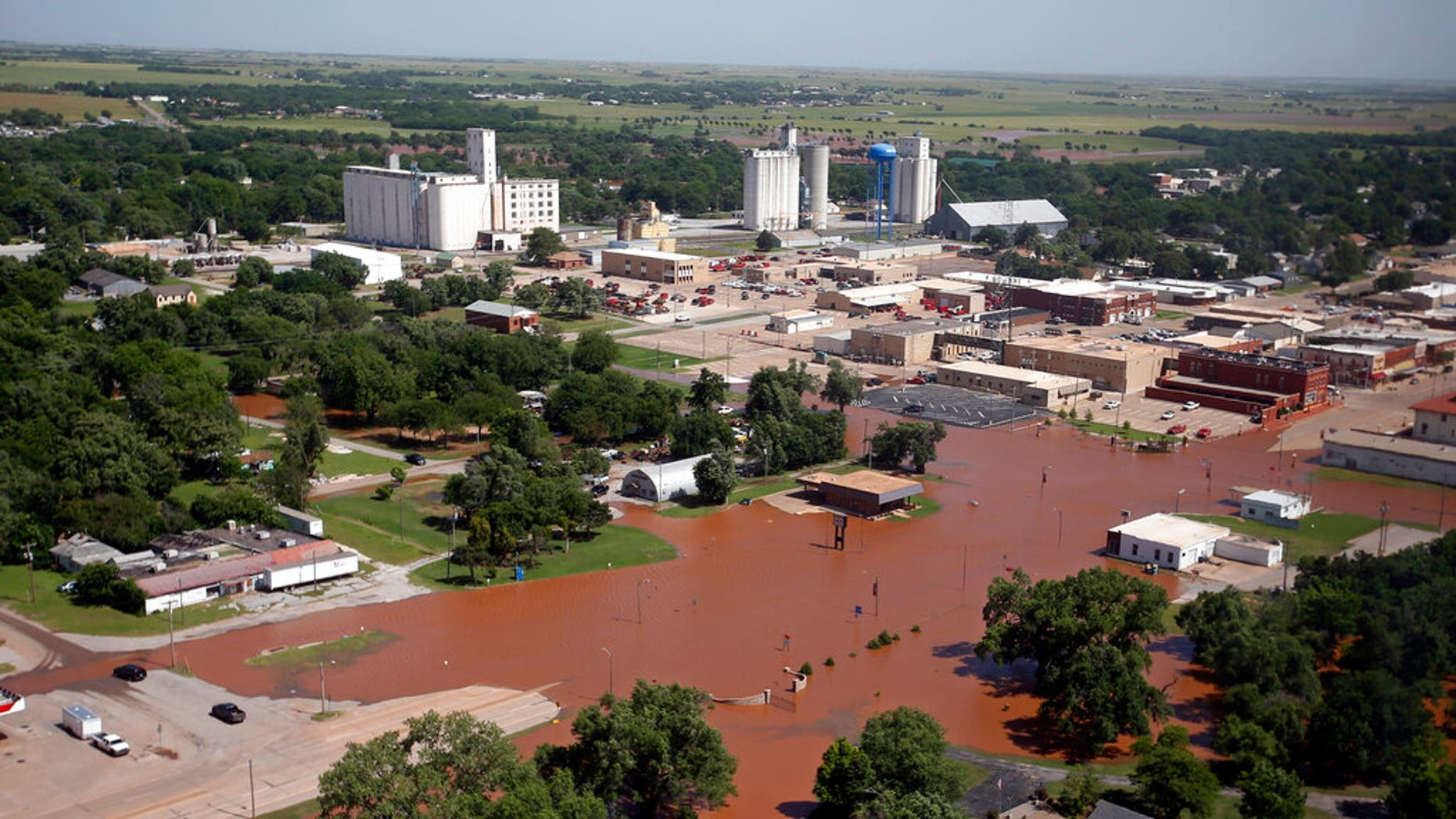 Flooding in Kingfisher, Okla. is pictured Tuesday, May 21, 2019. Flooding following heavy rains was an issue across the state.