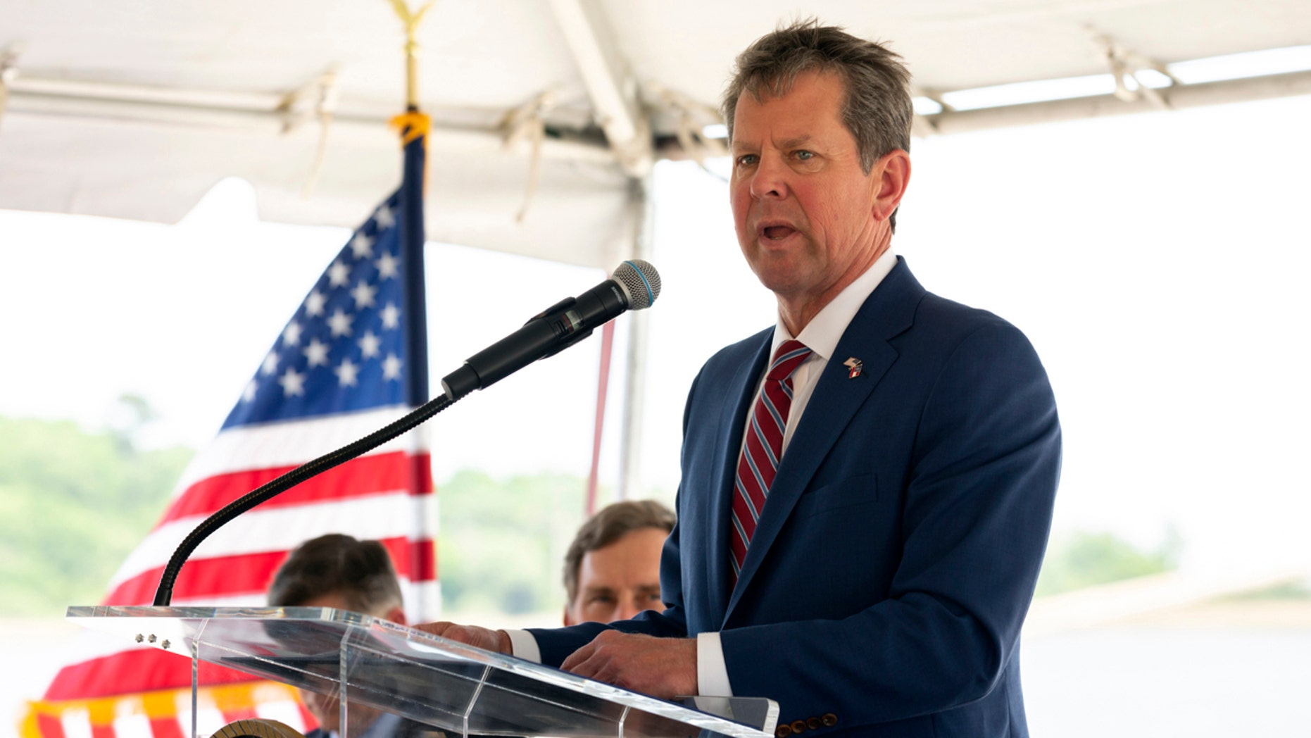 """Georgia Gov.Brian Kemp is keeping his campaign promise to sign the """"heartbeat"""" abortion bill in the face of Hollywood actors threatening a statewide boycott. (Stephen Morton/Georgia Ports Authority via AP)"""