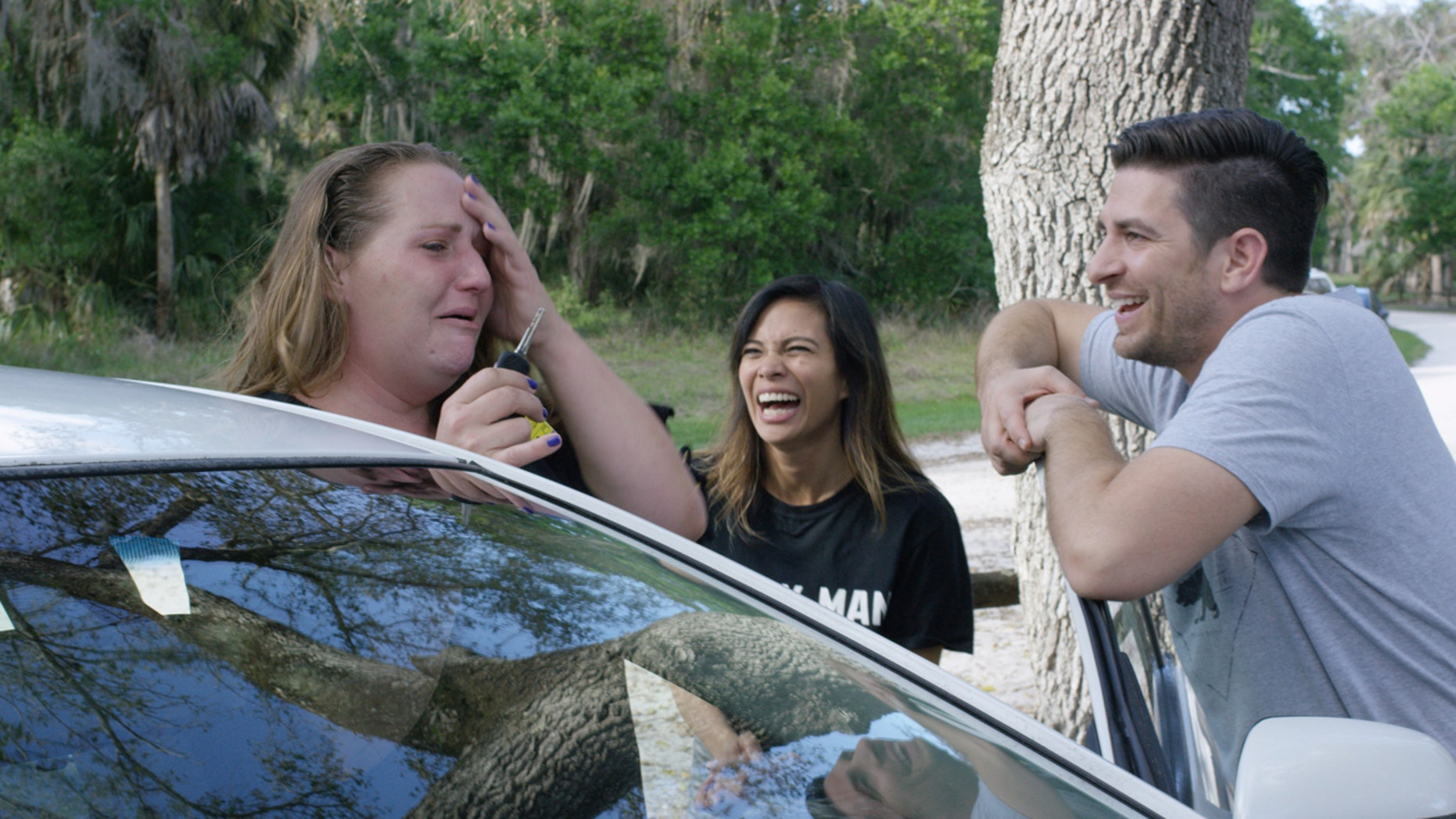 Celeste Bokstrom, a single mom caretaker and who has been without a car, was gifted a vehicle and helped in other significant ways by Burly Man Coffee founders, Tiana and Jeremy Wiles. The company has a goal of giving away 100 cars to single moms across the country.