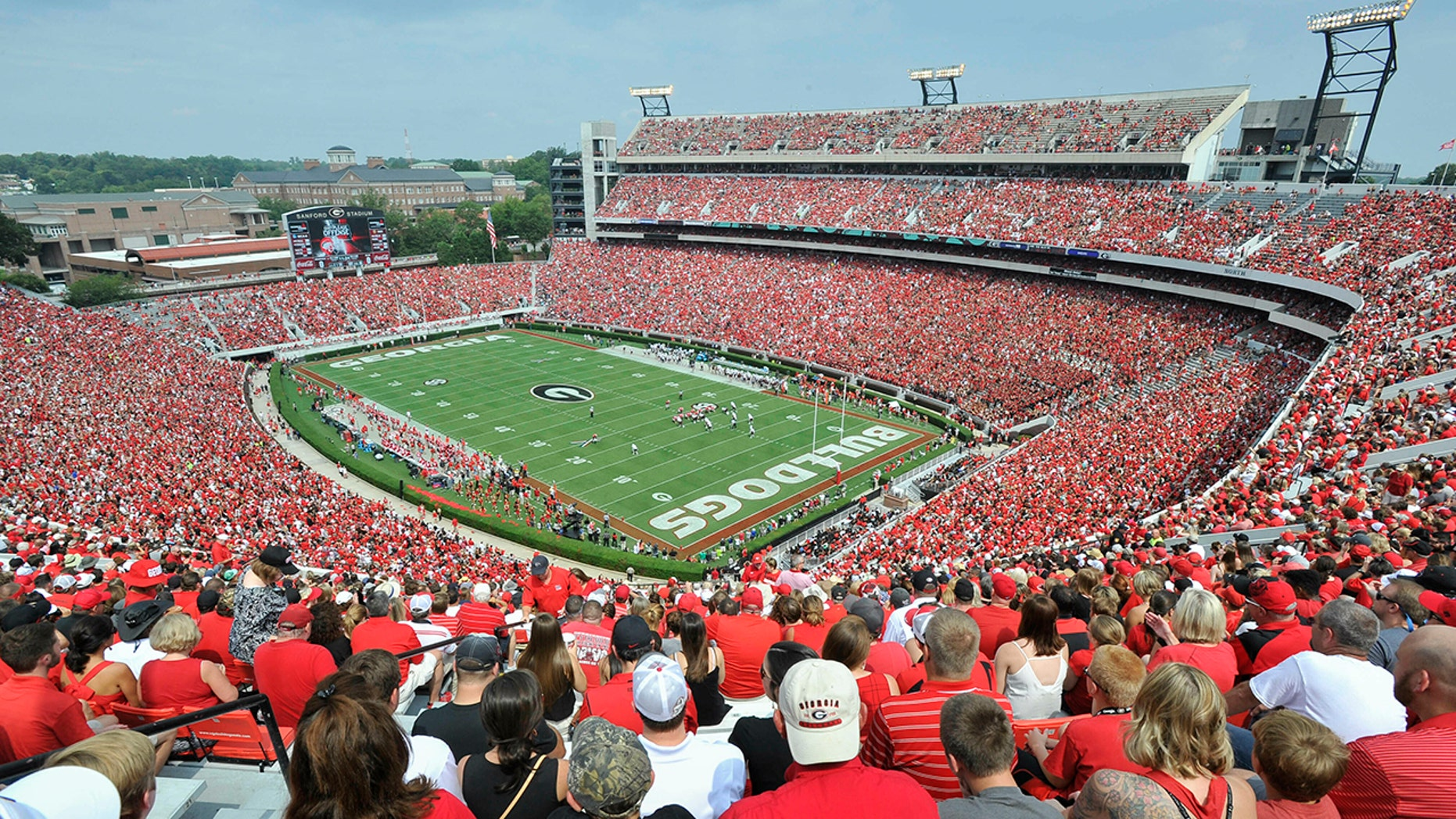In this Sept. 5, 2015, photo, Georgia fans watch the season opening game against Louisiana Monroe at Sanford Stadium during an NCAA college football game in Athens, Ga. (AP Photo/John Amis)