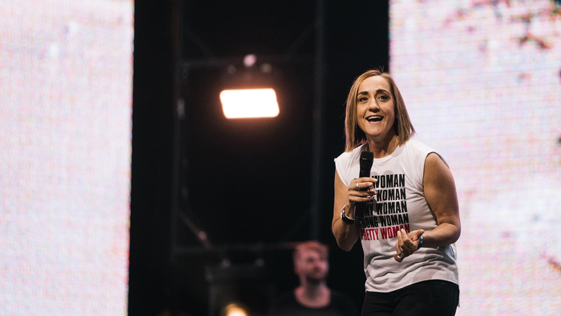 "Christine Caine, 52, the founder of A21, a global anti-trafficking organization, and Propel, an international women's organization, spoke at the ""Heaven Come"" conference in Los Angeles Saturday."
