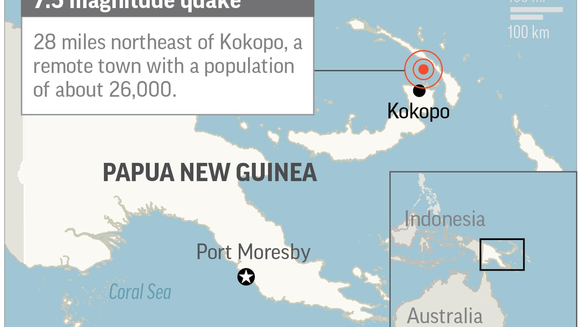 Map locates magnitude-7.5 quake in Papua New Guinea; 2c x 2 1/4 inches; 96.3 mm x 57 mm;