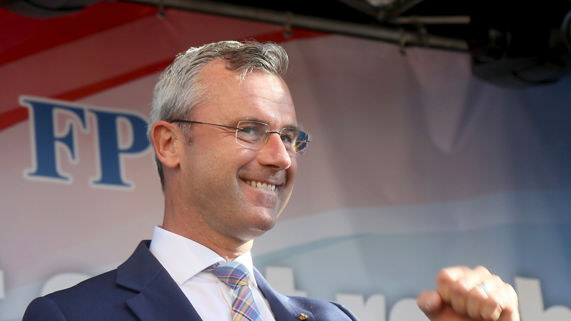 Designated Leader of the right-wing Freedom Party, FPOE, Norbert Hofer waves to his supporters during the final election campaign event for European elections in Vienna, Austria, Friday, May 24, 2019. (AP Photo/Ronald Zak)