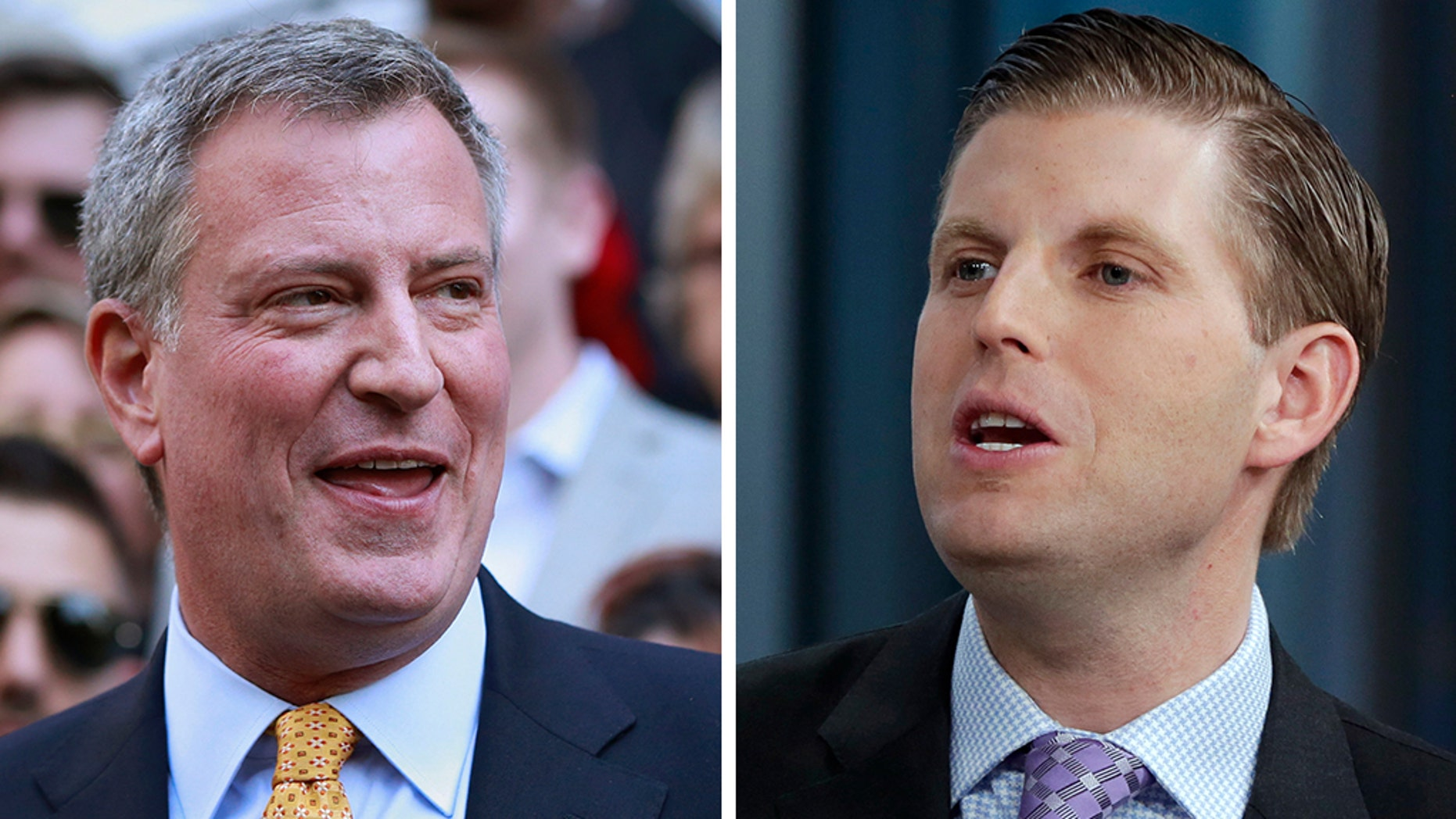 Eric Trump and Democratic New York City Mayor Bill de Blasio had a nasty spat on Twitter following the mayor's Green New Deal rally he held in the lobby of Trump Tower. (Reuters/AP)