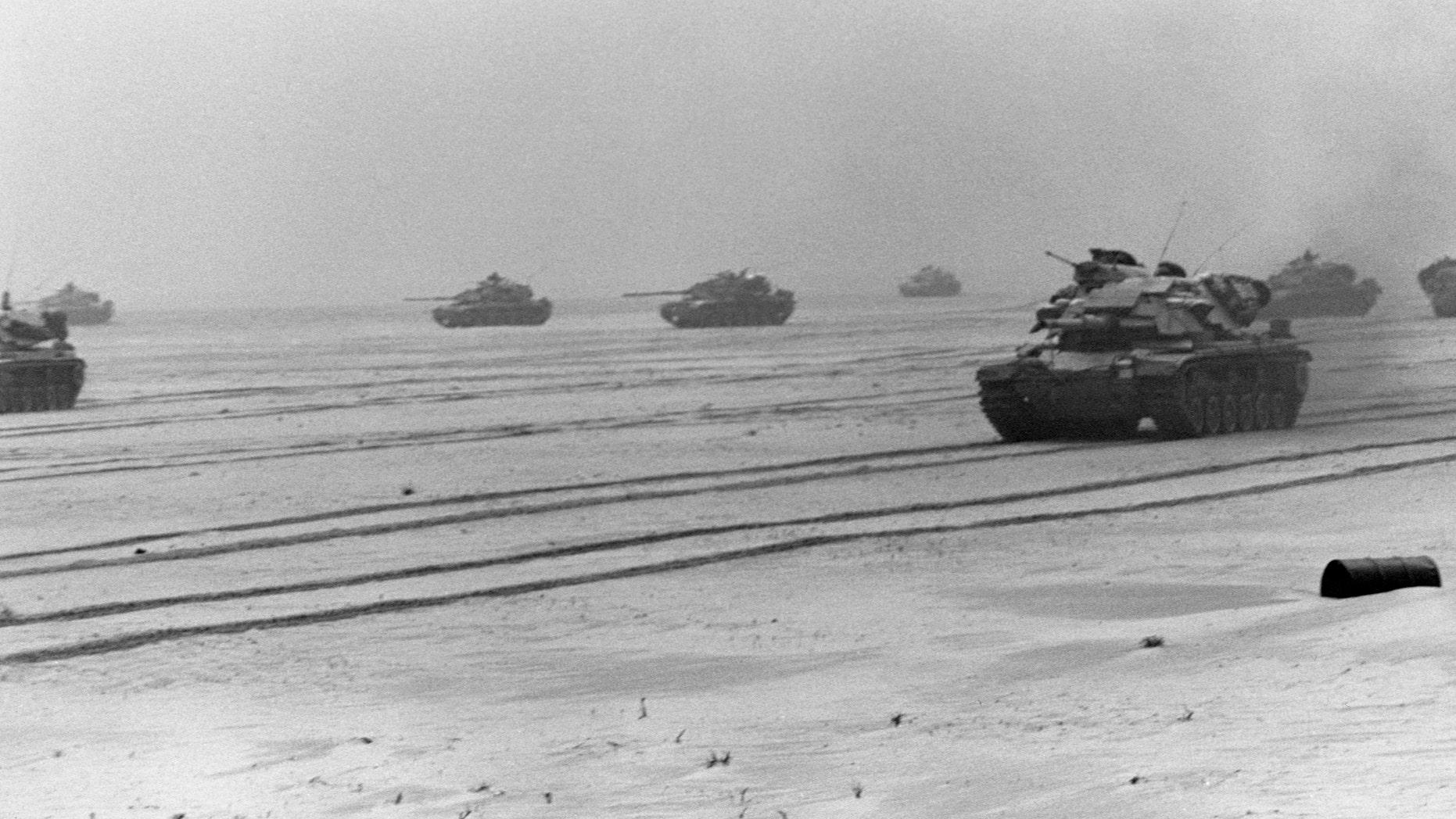 File photo - Marines of 1st Tank Battalion, 1st Marine Division head toward Kuwait City in M60A1 main battle tanks during the third day of the ground offensive of Operation Desert Storm, an operation to liberate Kuwait after the Iraqi invasion. February 26, 1991. (Photo by © CORBIS/Corbis via Getty Images)