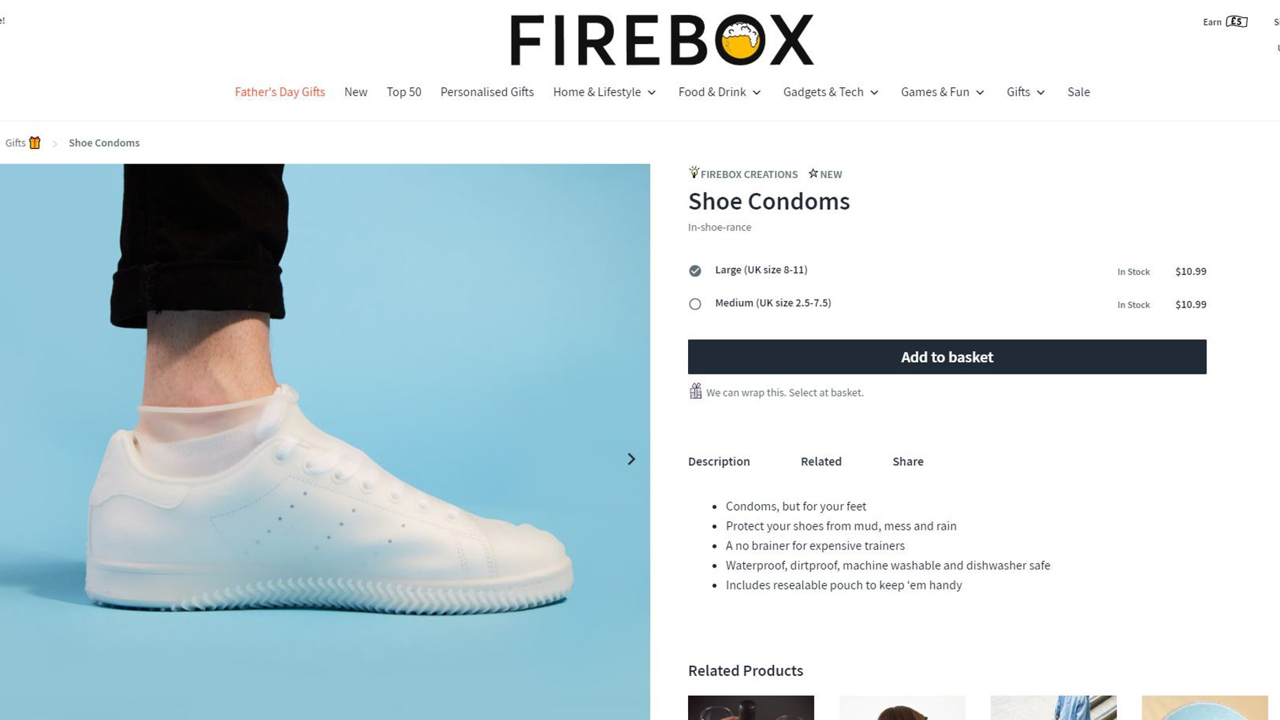 """Firebox, a UK e-tailer that sells """"unusual gifts for people with imagination,"""" is offering them up in sizes medium and large for an affordable $10.99."""