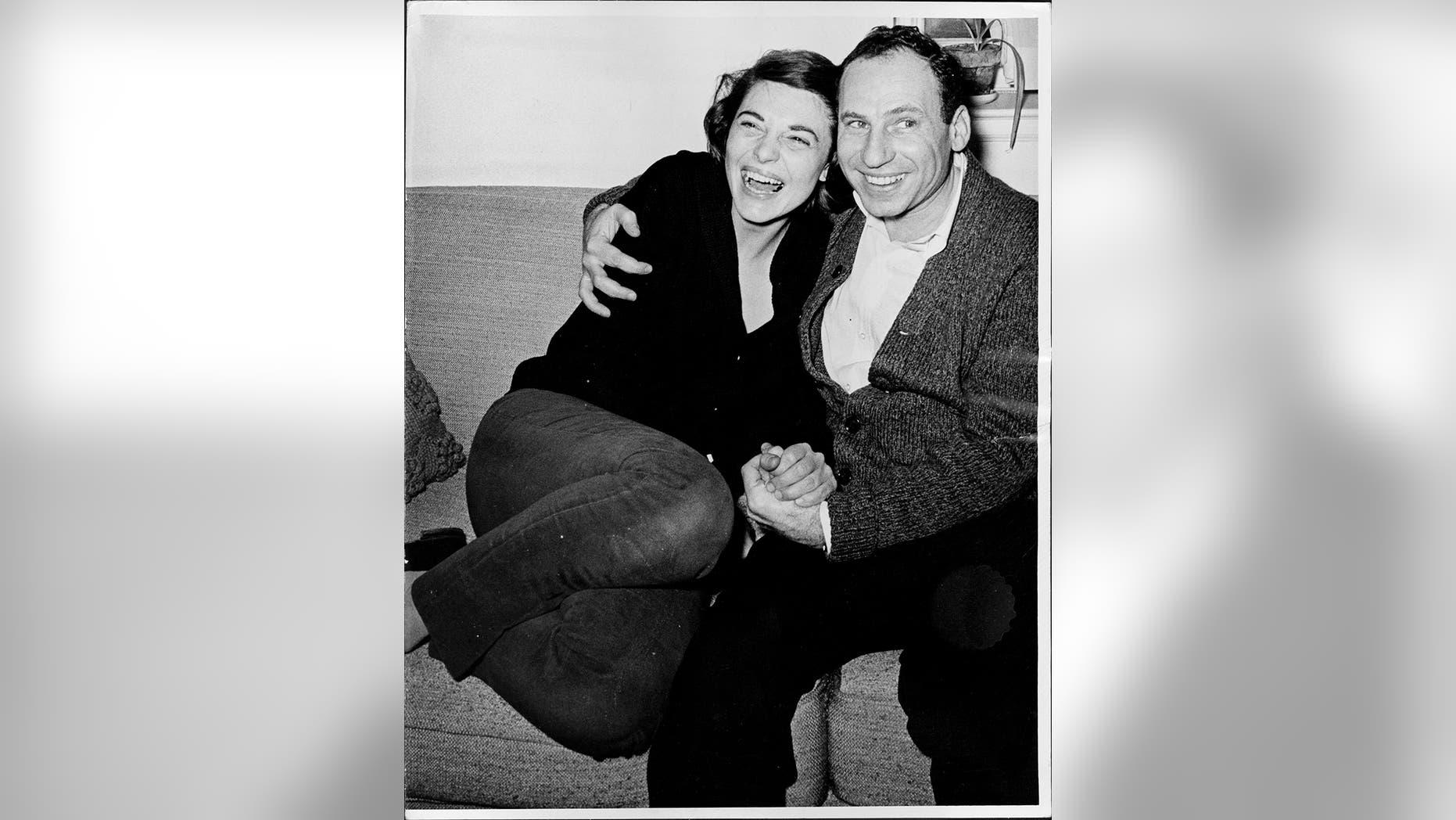 Actors Anne Bancroft and Mel Brooks on April 9, 1963.