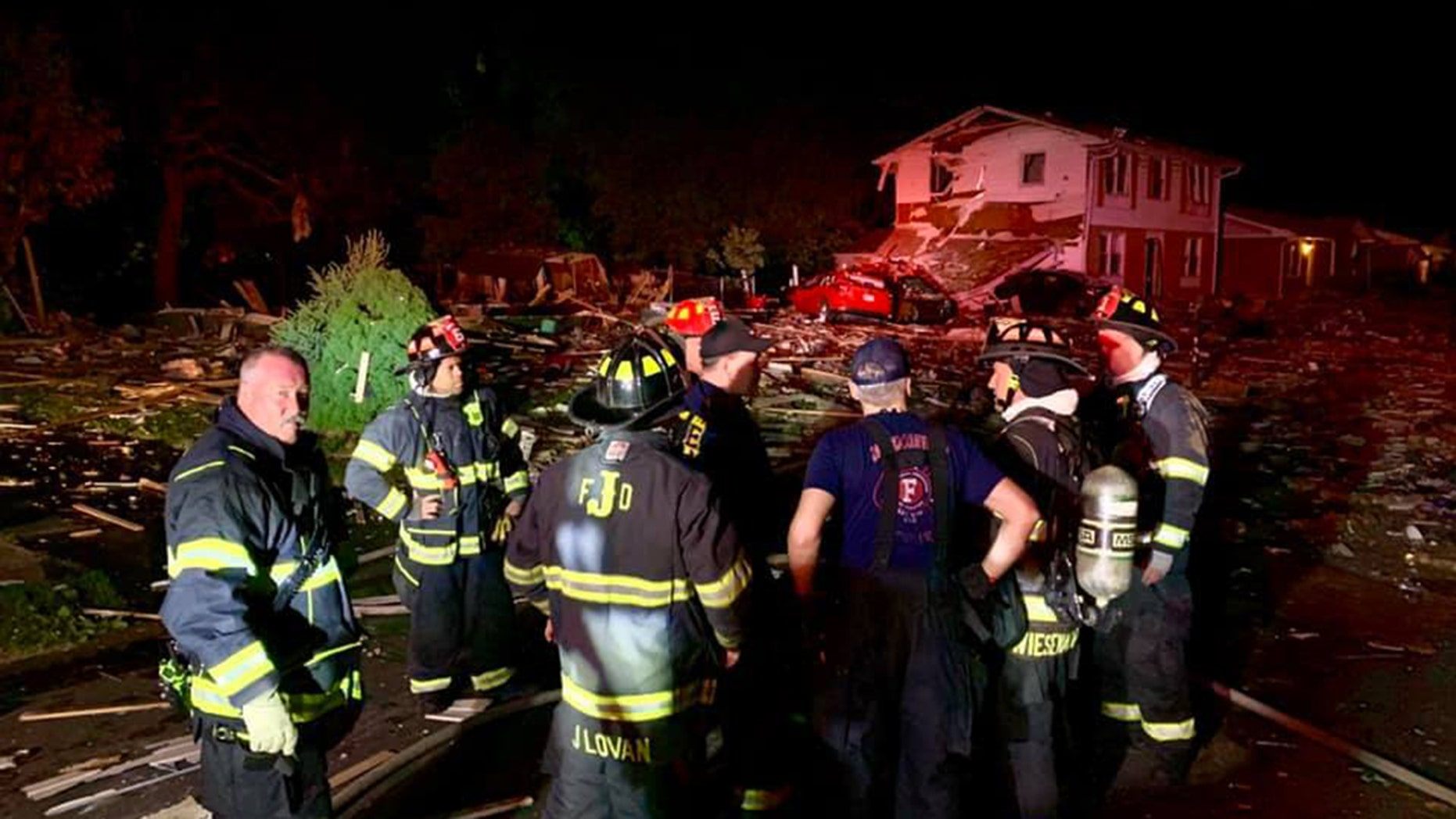 One person is dead and two more are injured after an explosion decimated a home in Jeffersonville, Indiana early on Sunday morning