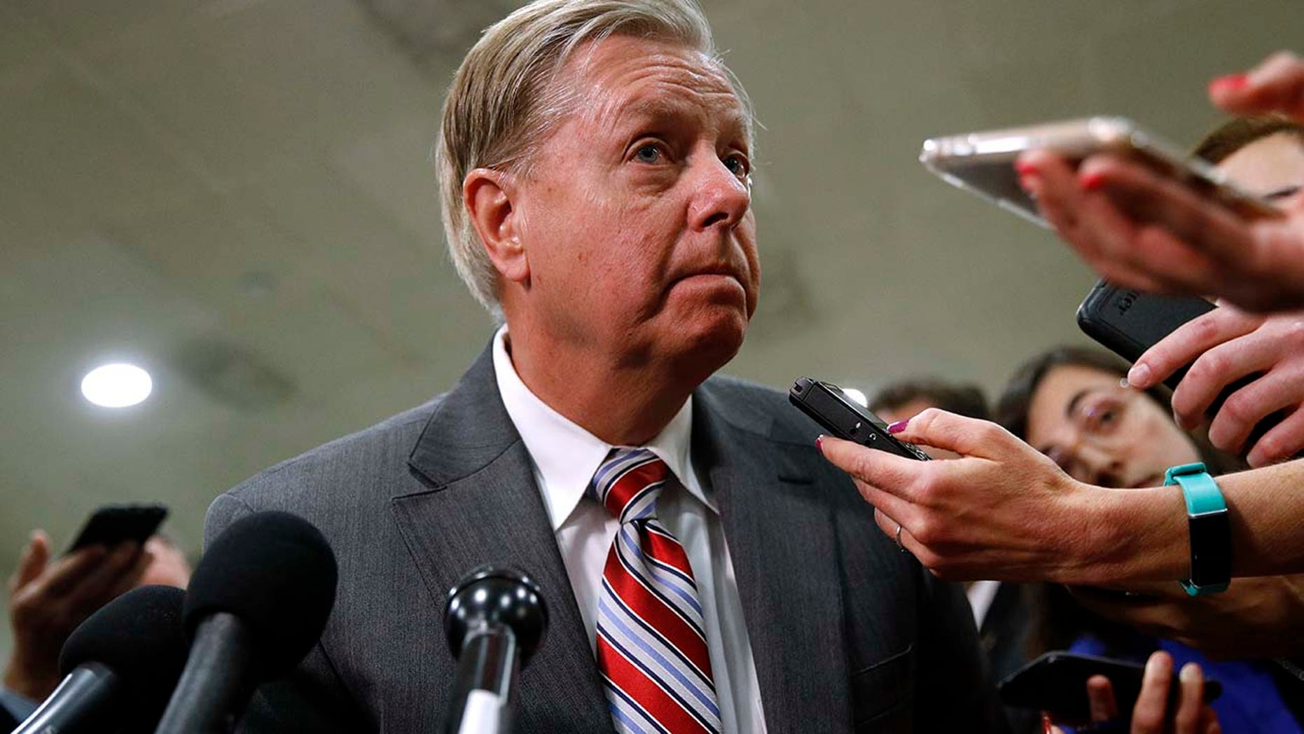 Sen. Lindsey Graham, R-S.C., speaks to reporters after a classified members-only briefing on Iran, Tuesday, May 21, 2019, on Capitol Hill in Washington. (AP Photo/Patrick Semansky)
