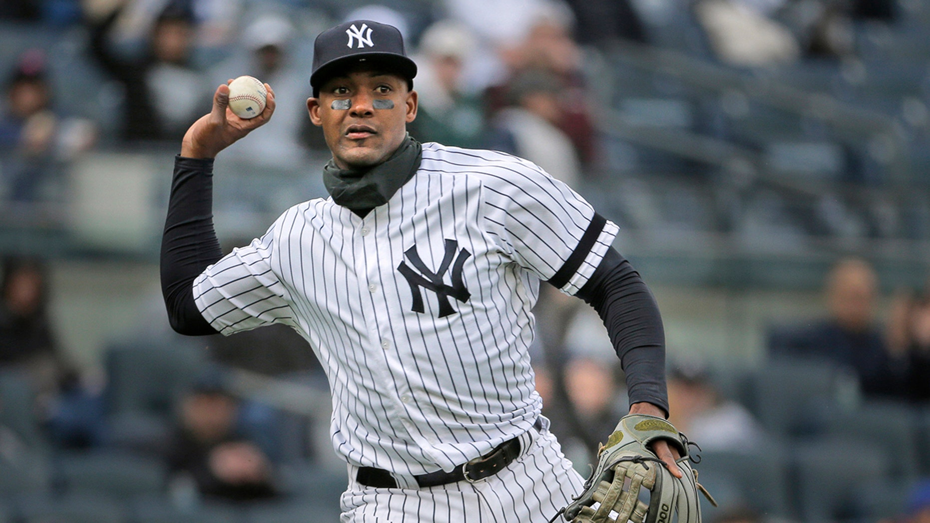 New York Yankees' Miguel Andujar throws to first base during the second inning of the team's baseball game against the Baltimore Orioles at Yankee Stadium in New York. (AP Photo/Seth Wenig, File)