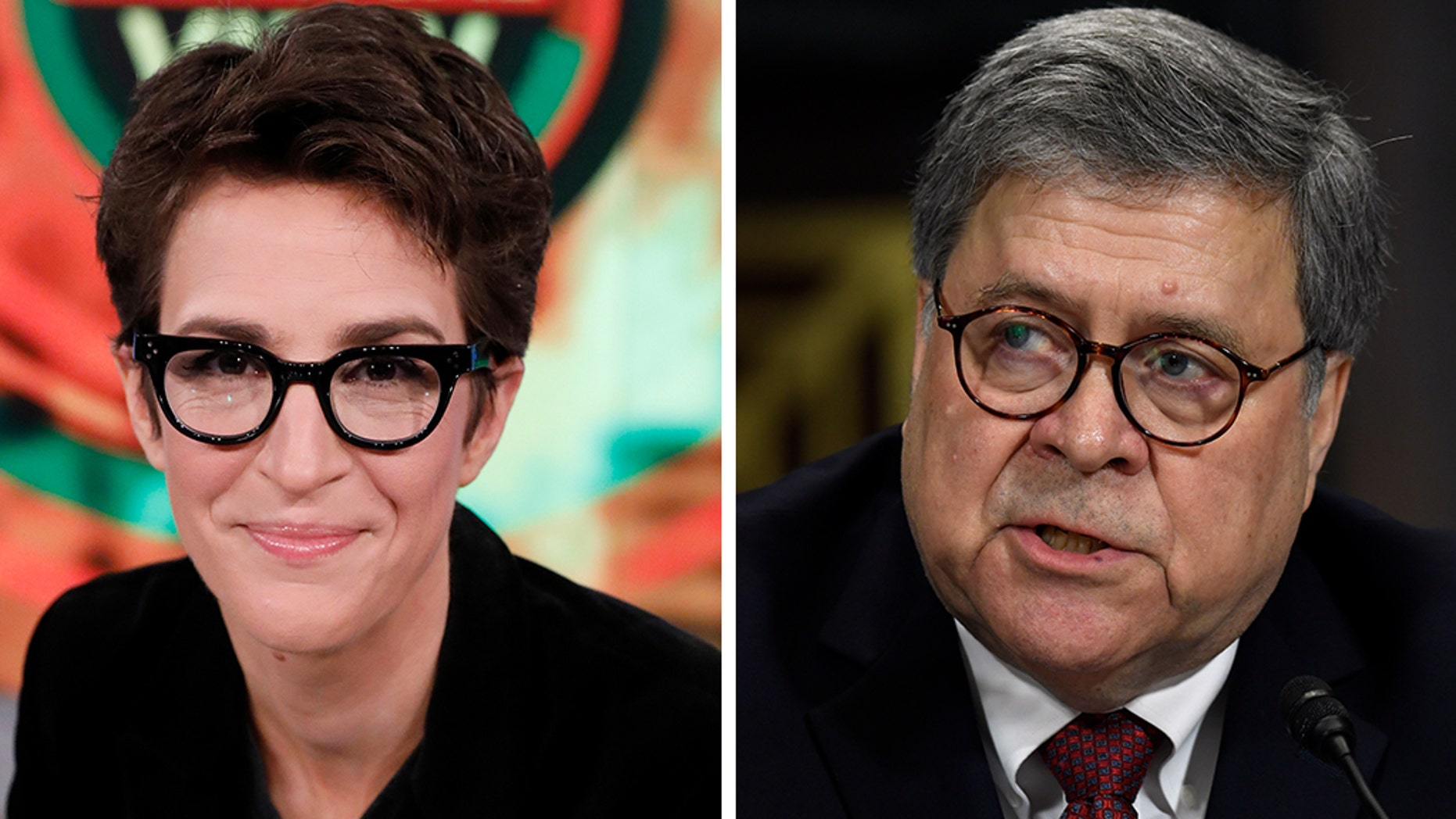 """A report found MSNBC's """"Rachel Maddow Show"""" and certain Democrats used a misleading video to cast Attorney General Bill Barr in a negative light. (Getty/AP, File)"""