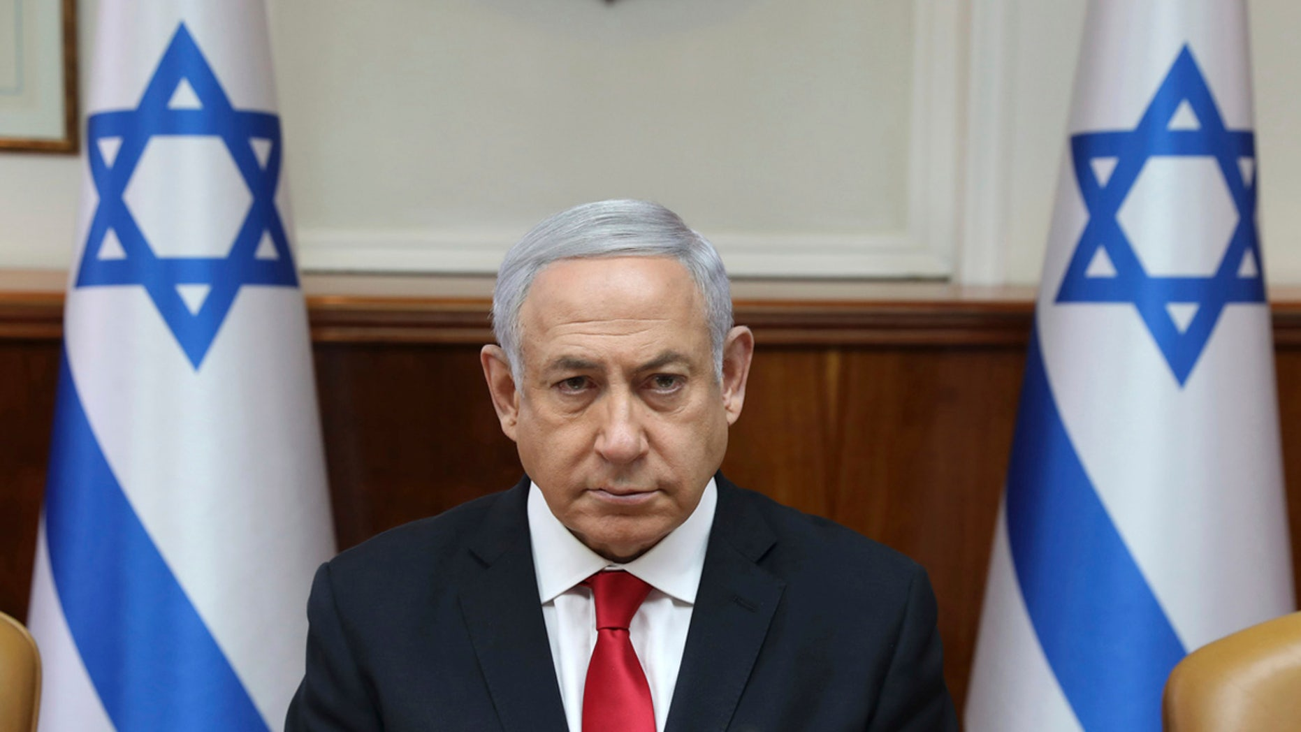 Israeli Prime Minister Benjamin Netanyahu attends the weekly cabinet meeting at his office in Jerusalem, Israel, Sunday, May 5, 2019. (Abir Sultan/Pool Photo via AP)