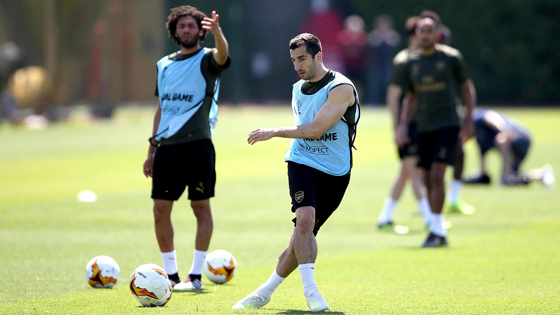 Arsenal's Henrikh Mkhitaryan during a training session at London Colney, England, Tuesday May 21, 2019, ahead of the Europa League Final against Chelsea on Wednesday May 29. (Tim Goode/PA via AP)
