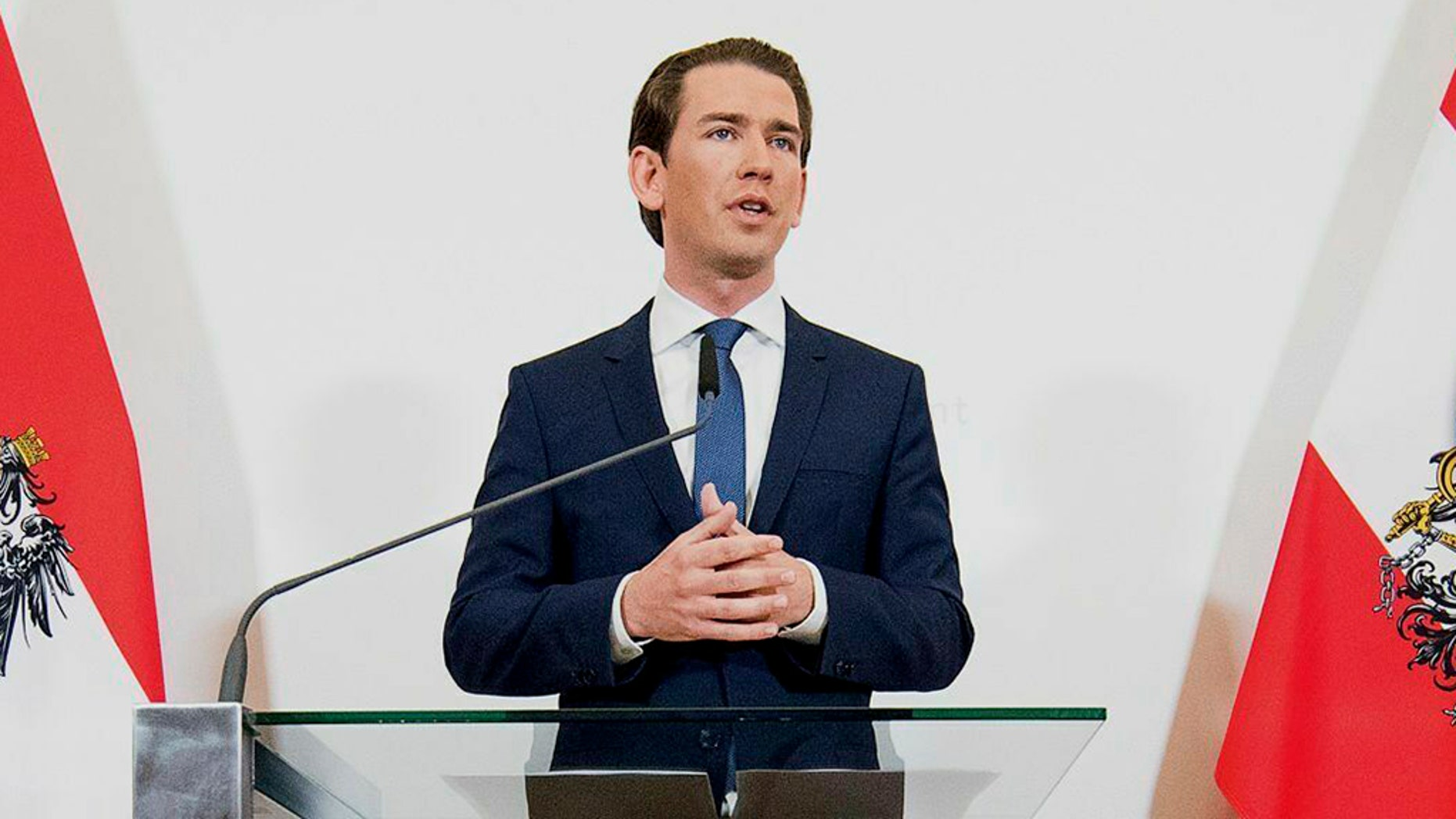 Austrian Chancellor Sebastian Kurz (Austrian People's Party) addresses the media during a press conference at the Federal Chancellors Office in Vienna on Saturday. Kurz has called for an early election after the resignation of his vice chancellor spelled an end to his governing coalition. (AP Photo/Michael Gruber)