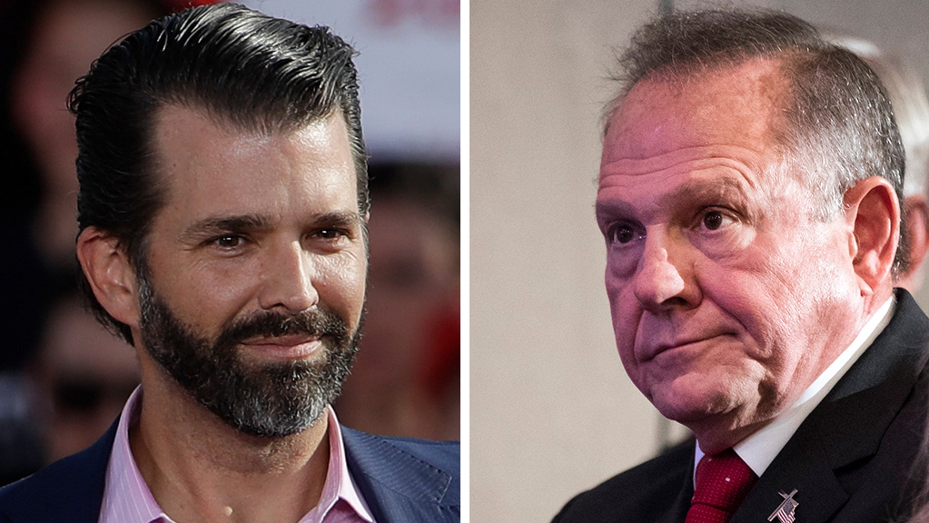 """<a data-cke-saved-href=""""https://www.foxnews.com/category/politics/executive/first-family"""" href=""""https://www.foxnews.com/category/politics/executive/first-family"""">Donald Trump Jr.</a> slammed Judge Roy Moore as the previously failed candidate<a data-cke-saved-href=""""https://www.foxnews.com/us/roy-moore-weighs-al-senate-re-run-despite-gop-opposition"""" href=""""https://www.foxnews.com/us/roy-moore-weighs-al-senate-re-run-despite-gop-opposition"""">teased another run for the Alabama Senate seat</a>."""