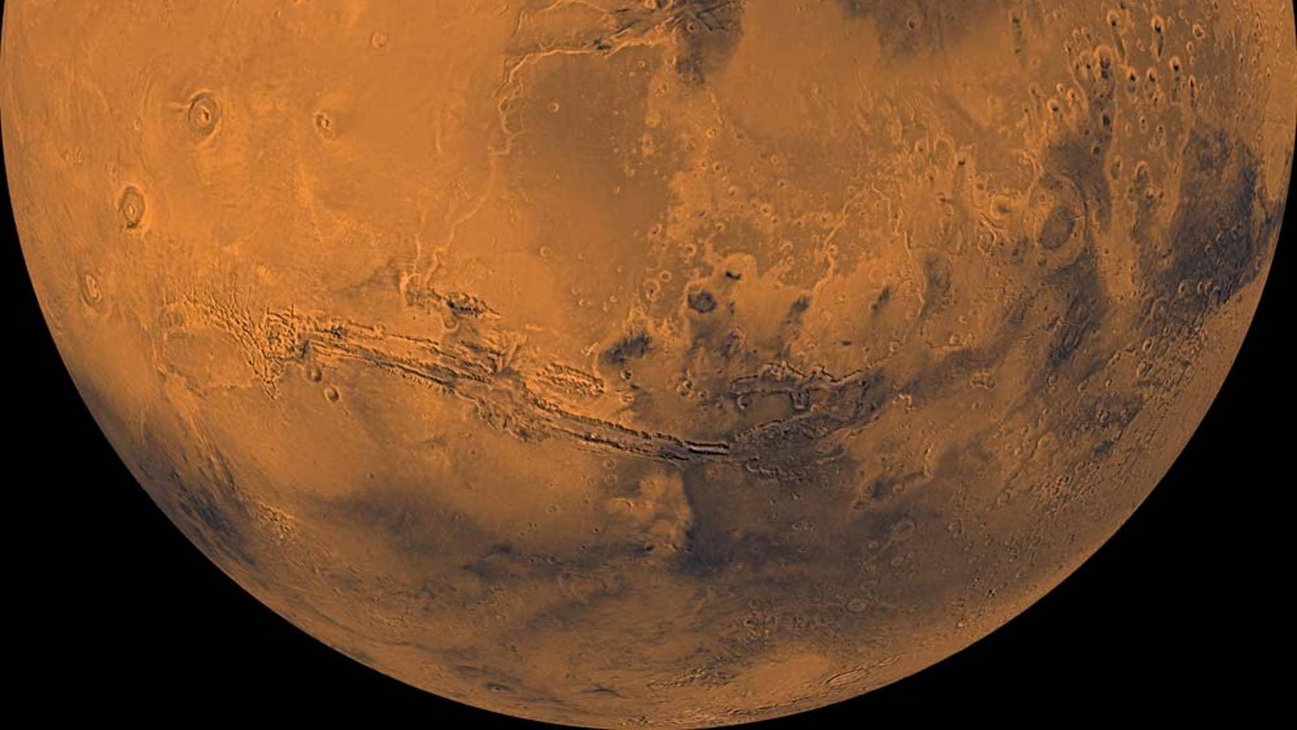 Mars, as imaged by NASA's Viking 1 orbiter in the 1970s.