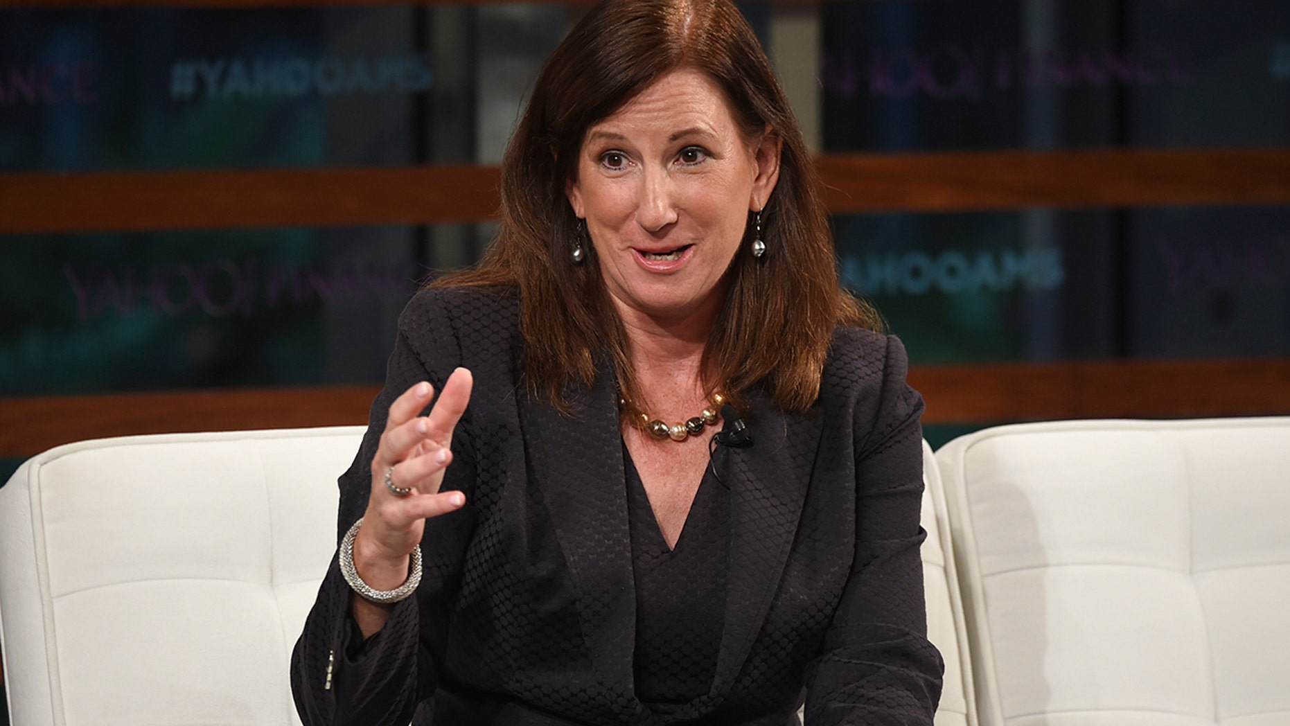 Deloitte CEO Cathy Engelbert participates in the Yahoo Finance All Markets Summit: A World of Change at The Times Center in New York. (Photo by Evan Agostini/Invision/AP, File)
