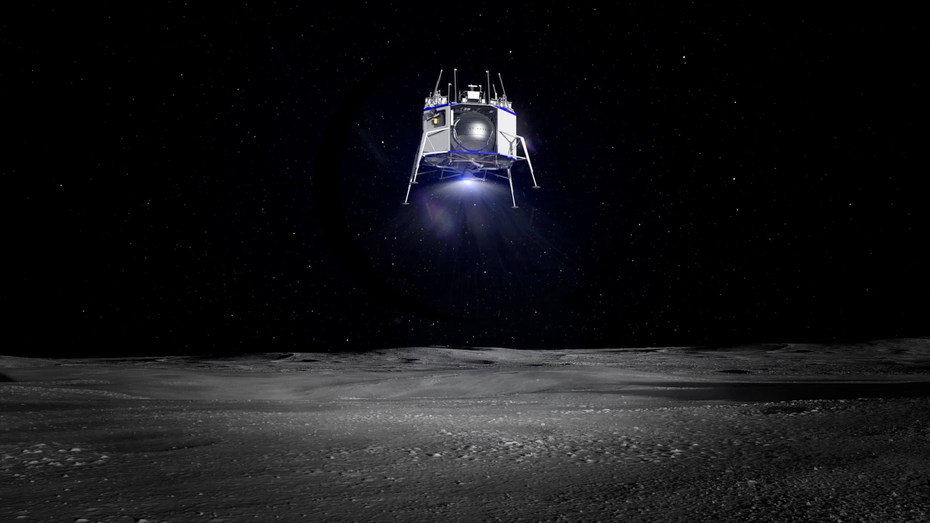 Blue Origin's Blue Moon spacecraft descends to the lunar surface in this still from a mission simulation.