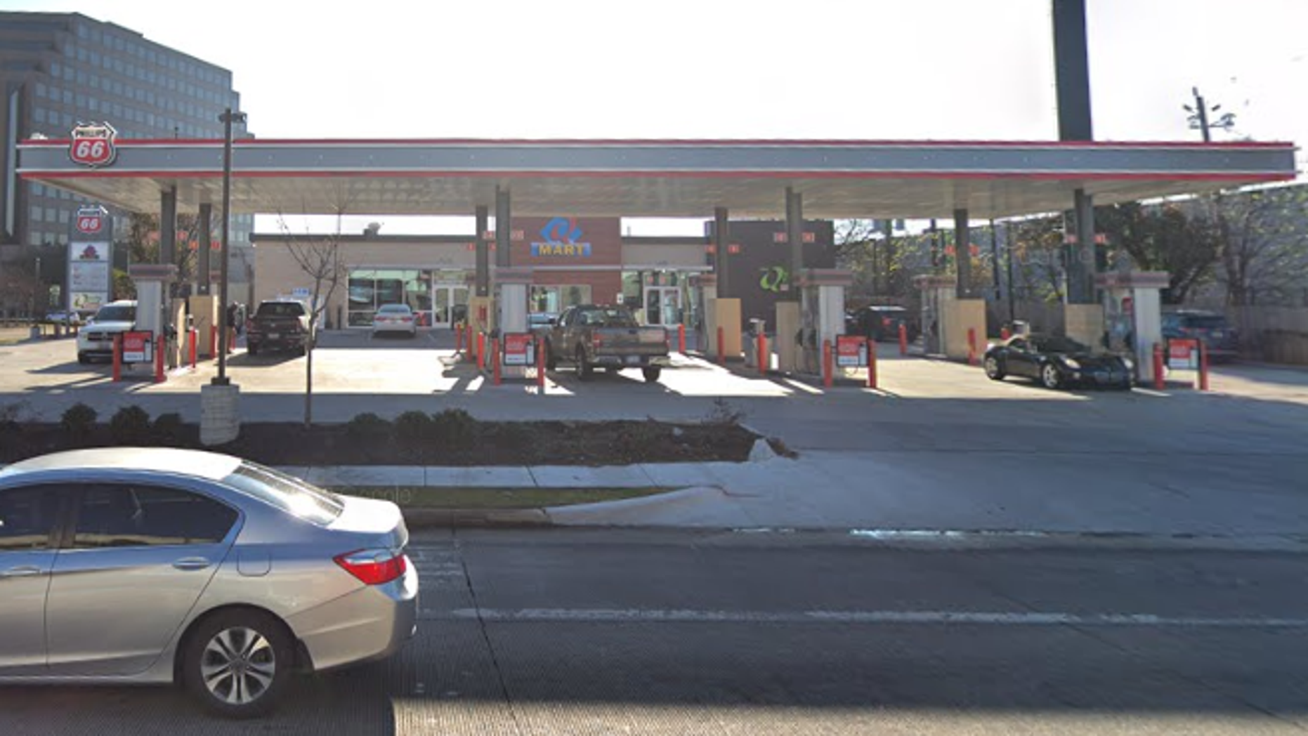 A father pulled into a gas station in western Houston on Wednesday after his 18-month-old son was shot in an apparent road rage incident, police said.