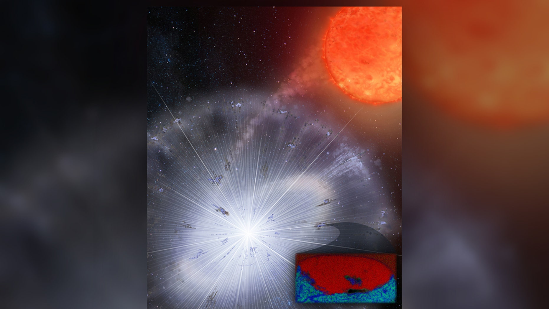 Researchers recently found stardust embedded in a meteorite from Antarctica. This tiny grain made up of carbon-rich material (red) and oxygen-rich material (blue) likely formed in a nova explosion.