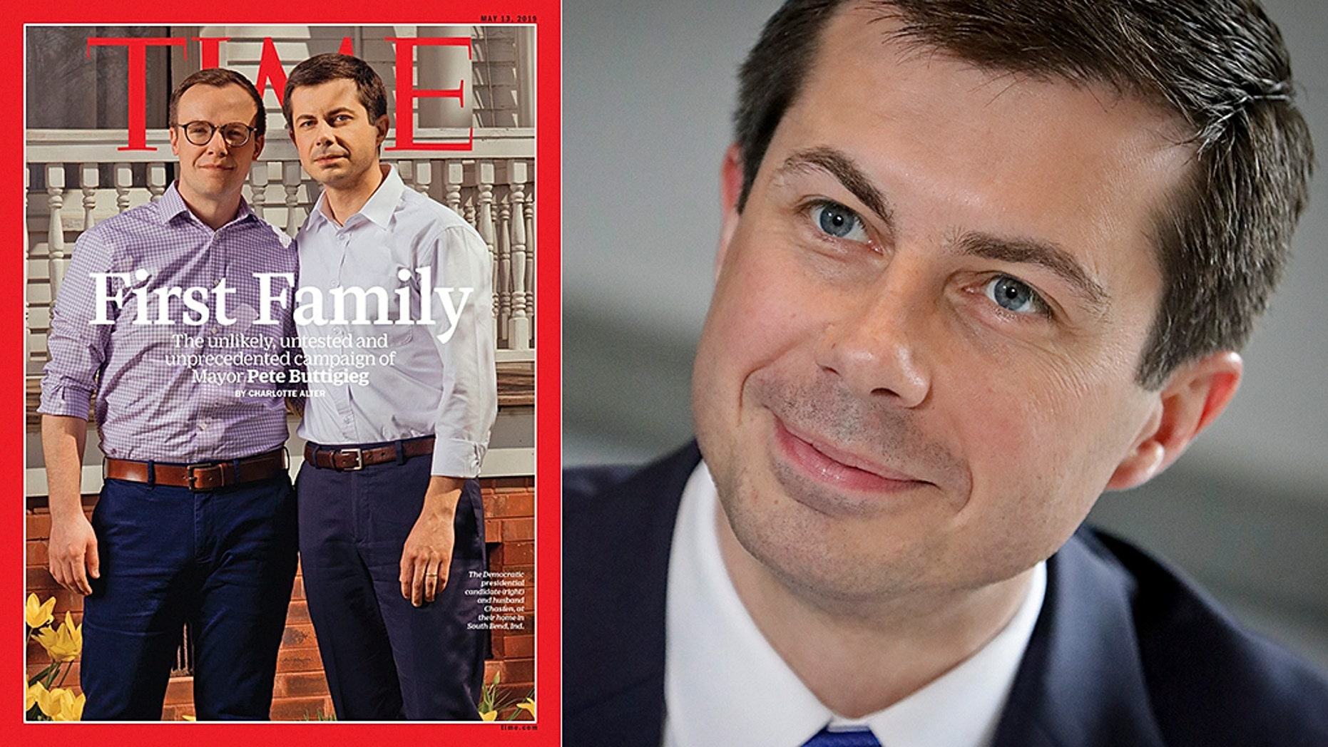 "Mayor Pete Buttigieg is on the latest TIME magazine cover, under the headline: ""First Family"""