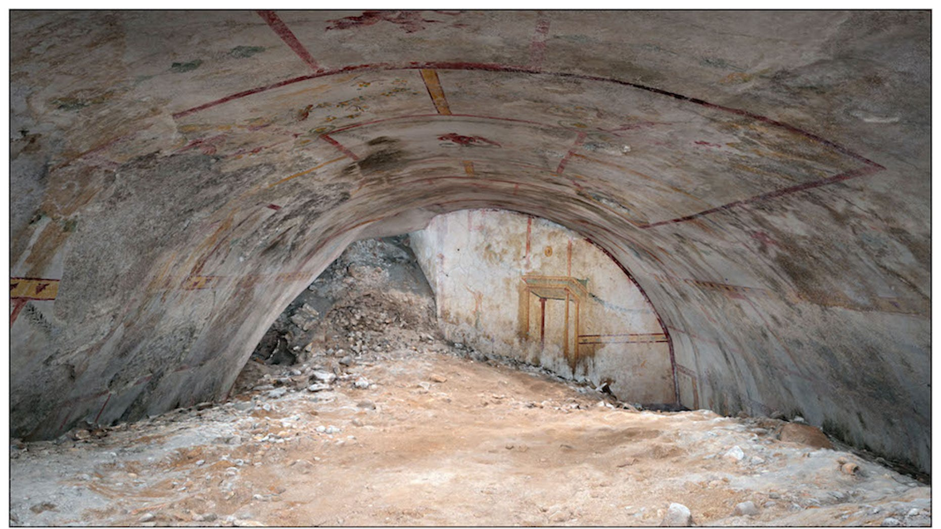 A hidden vault — filled with dirt and adorned with vivid paintings such as a centaur, a sphinx and an attacking panther — has been discovered in the ruins of Emperor Nero's ancient Roman palace.