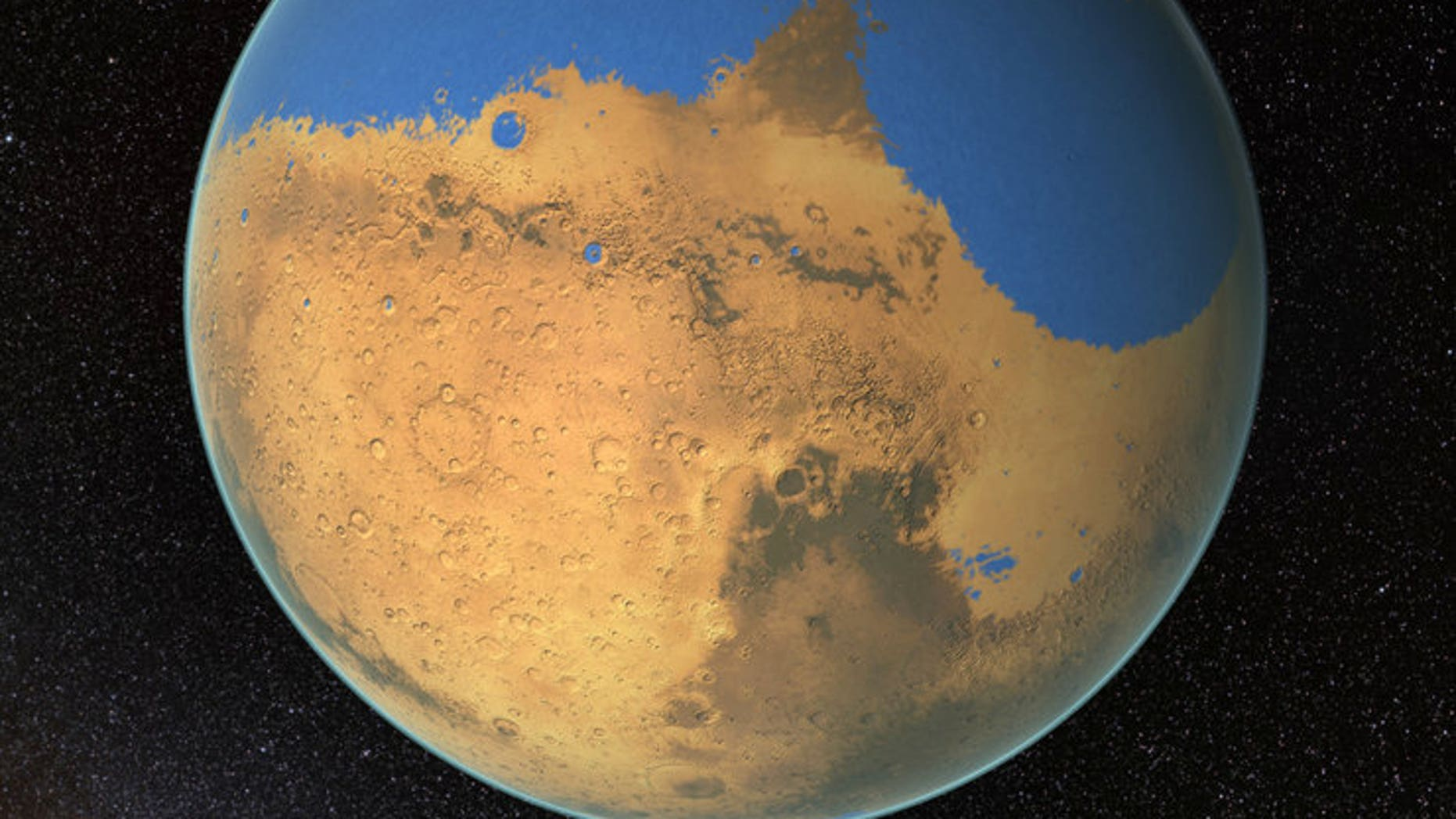 Before this delayed routine dusty out a planet, Mars might have been lonesome by a immeasurable ocean. This painting shows how a world might have looked billions of years ago.