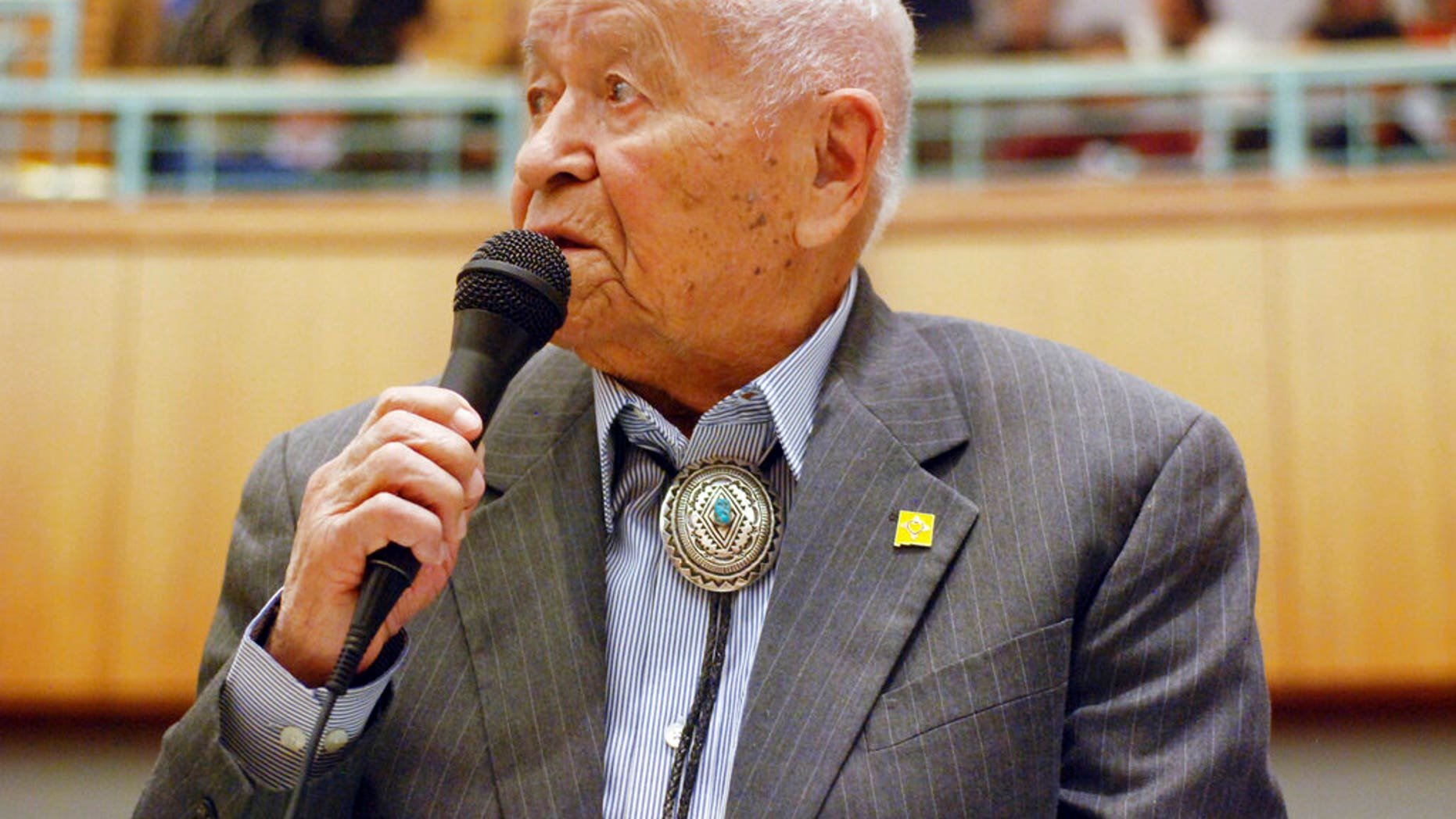 Democratic New Mexico state Sen. John Pinto talks about his career as a lawmaker on American Indian Day in the Legislature in Santa Fe, N.M., Feb. 2, 2018. (Associated Press)
