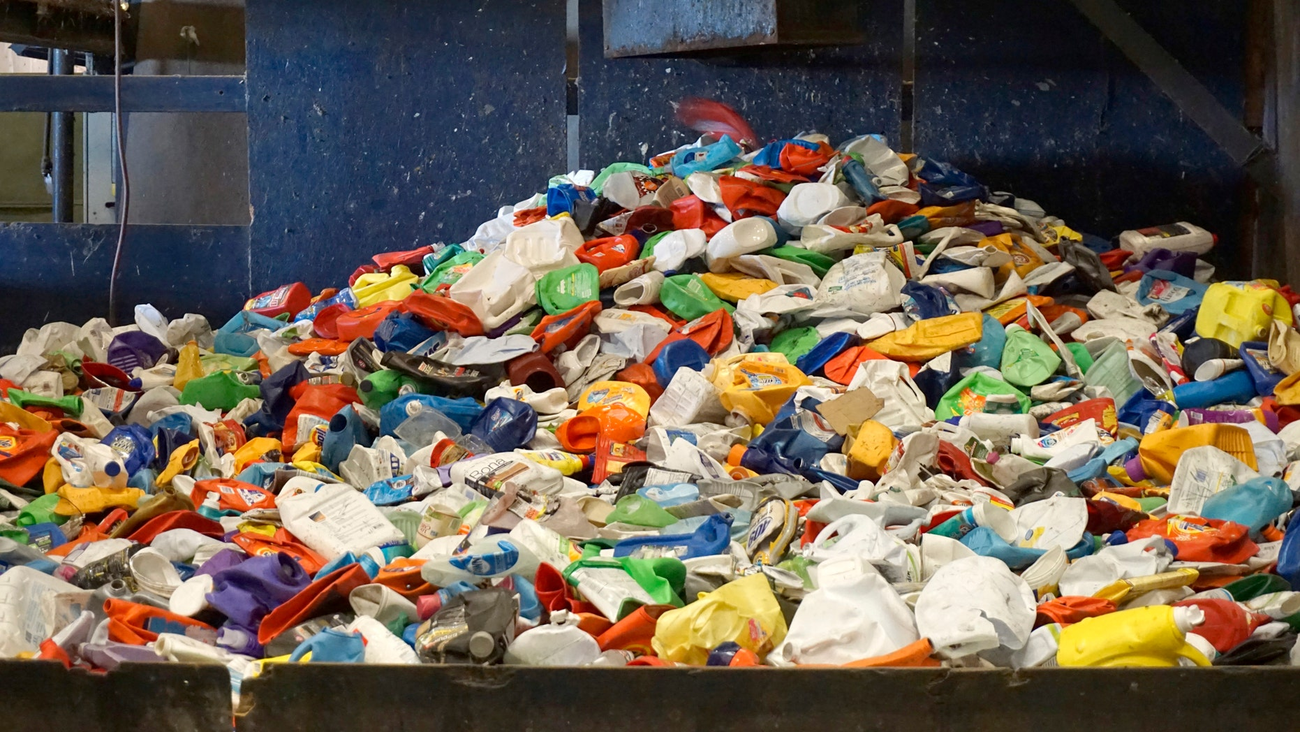 This January 2019 photo provided by the Institute of Scrap Recycling Industries shows plastic materials sorted from a residential recycling stream at a material recovery facility in Austin, Texas. Recycling systems are facing challenges in many places, but some experts say it's still growing. And they say dual-stream recycling _ in which you separate recyclables before they're collected _ is hitting its stride. (Institute of Scrap Recycling Industries via AP)