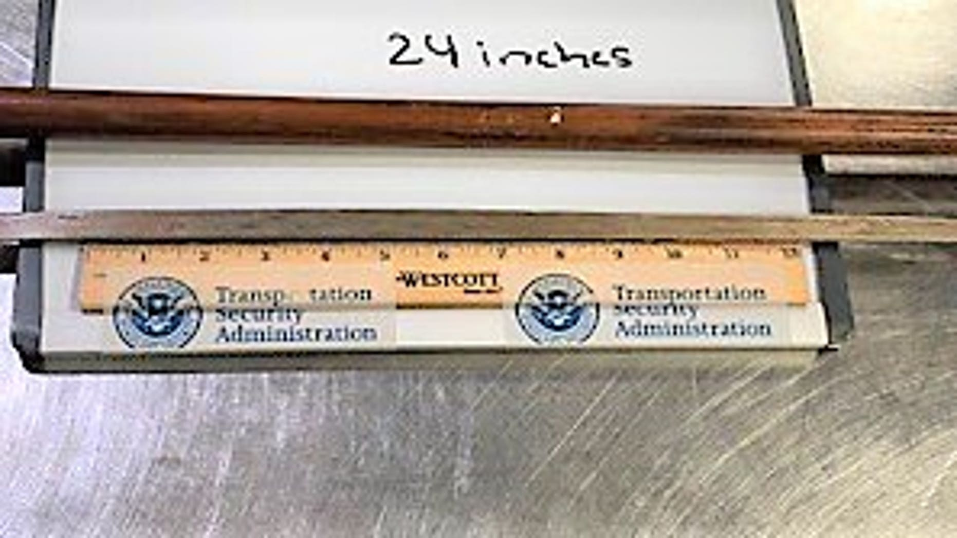 The sword was discovered by a TSA officer at the checkpoint after the cane went through the X-ray monitor.