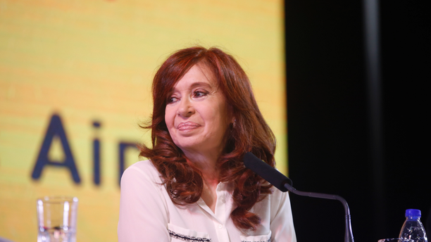 "In this handout photo provided by the Unidad Ciudadana political party, former Argentine President Cristina Fernandez smiles as she officially present her book ""Sincerely,"" during the Buenos Aires book fair in Argentina, Thursday, May 9, 2019. The presentation of her memoirs has become a best-seller since its release. (Unidad Ciudadana via AP )"