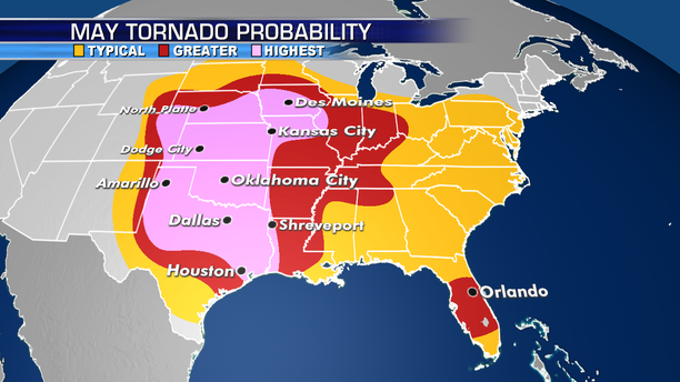 The areas at most risk of seeing tornadoes in May.